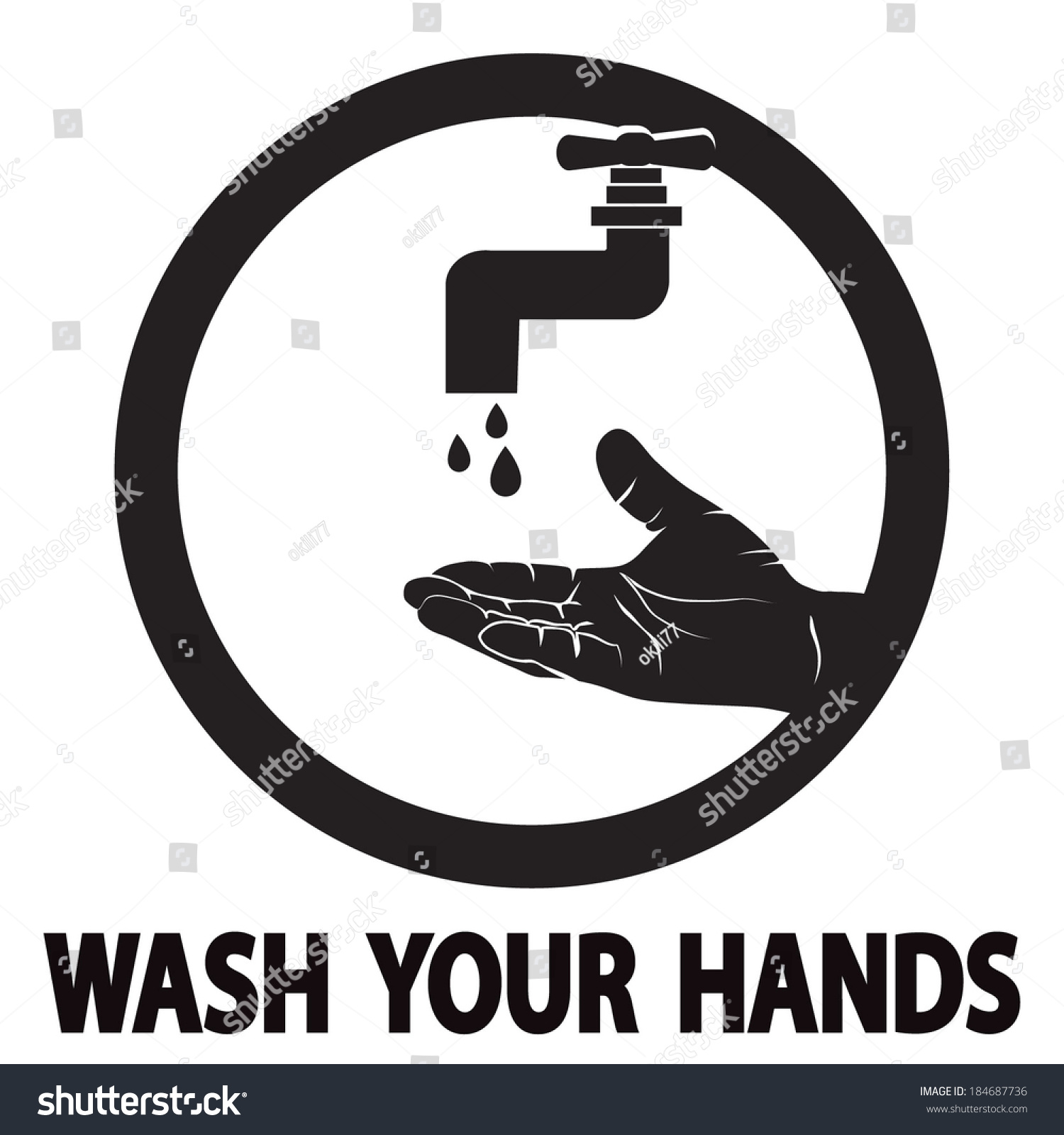 Wash Your Hands Symbol Stock Vector Royalty Free 184687736