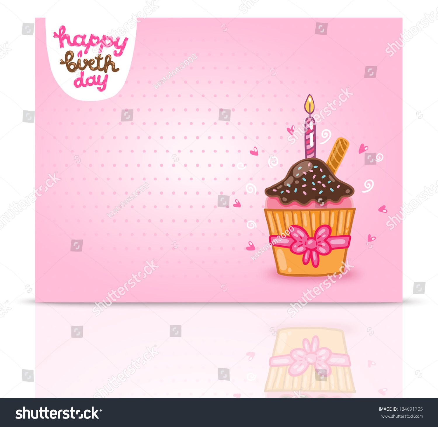Happy Birthday Card Background Cupcake Vector Stock Vector