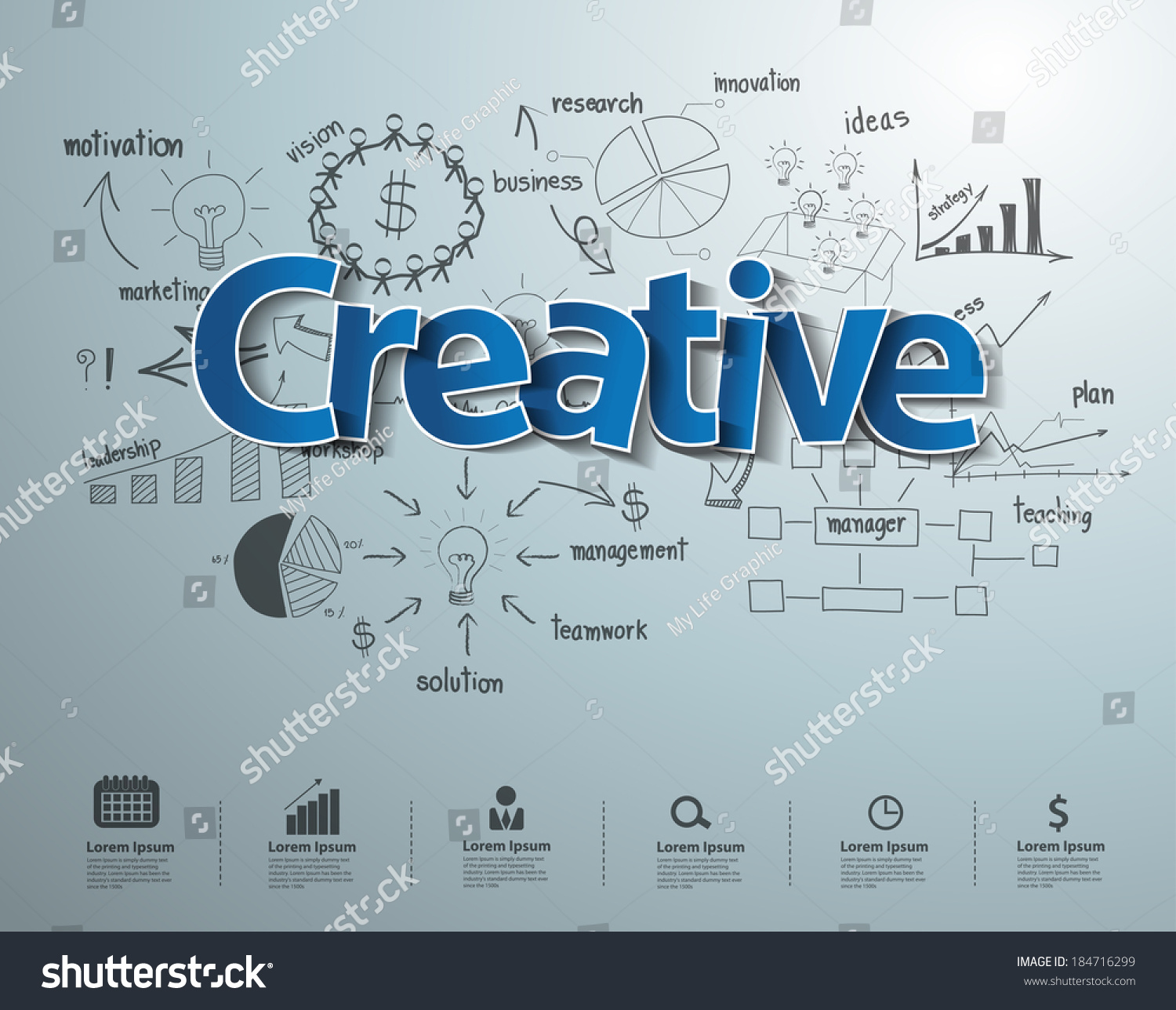 Creative Text Drawing Business Success Strategy Stock Vector ...