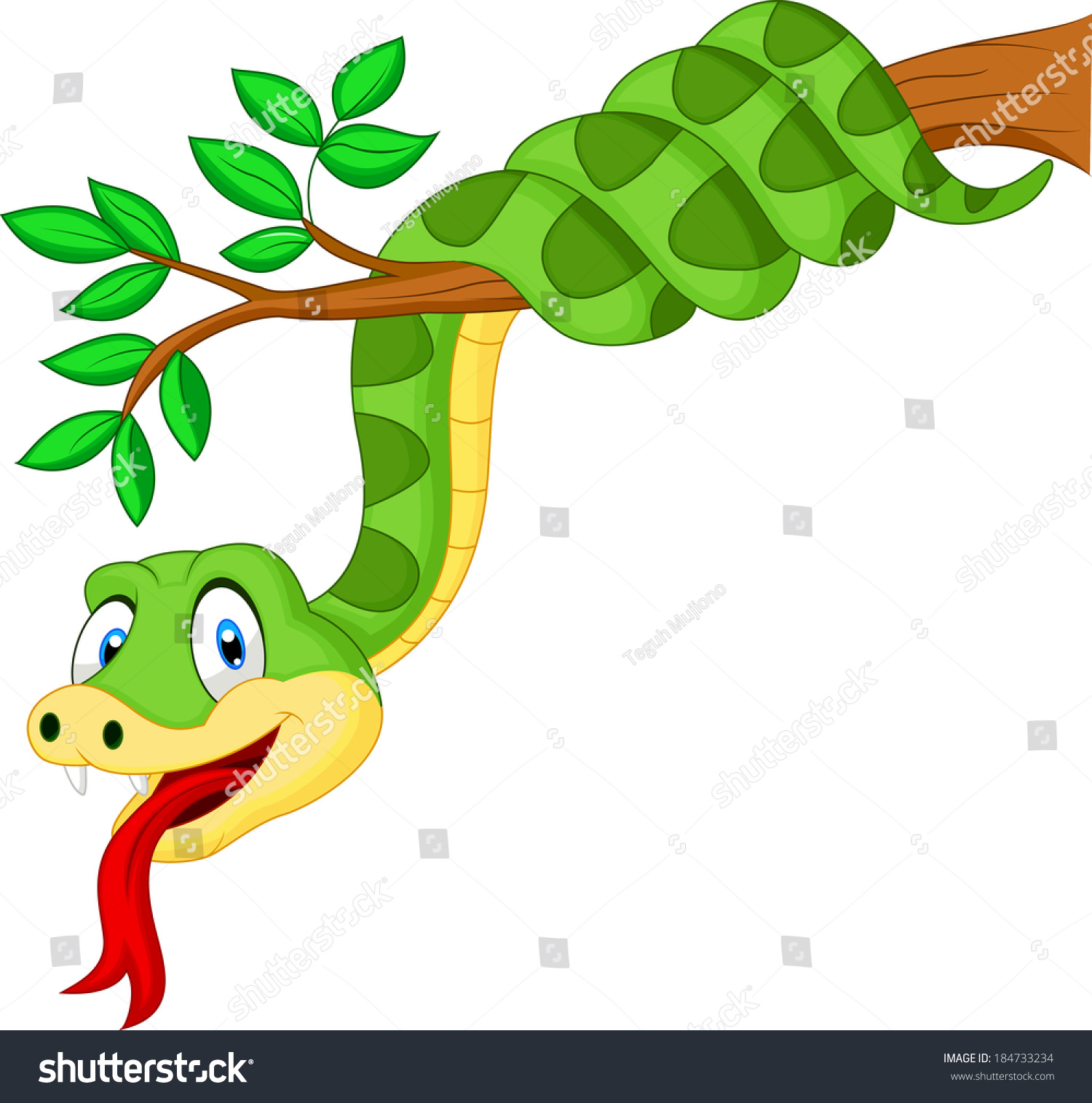how to draw a snake on a tree