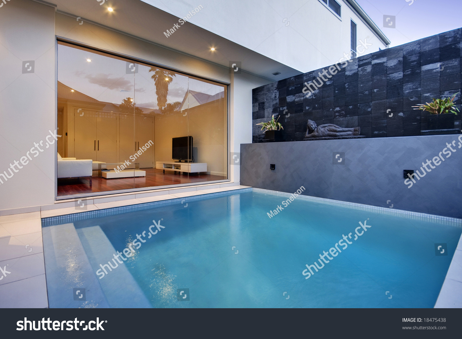 Pool area of a luxury terrace house stock photo 18475438 for Luxury pool area
