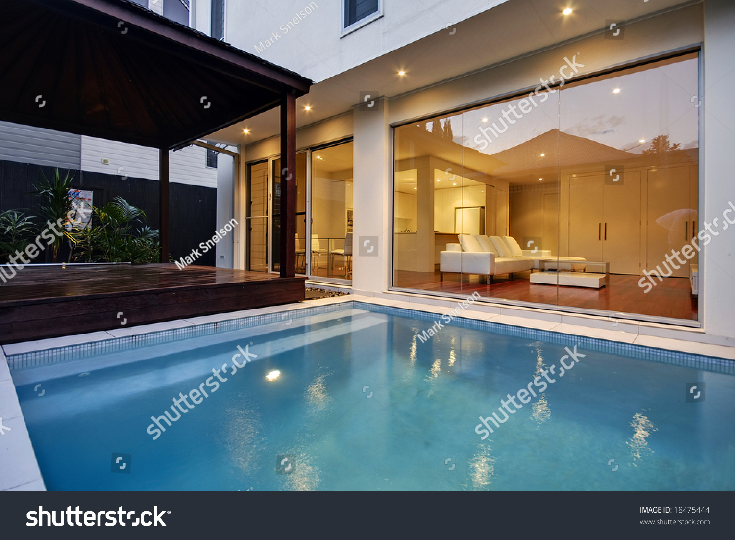 Pool area of a luxury terrace house stock photo 18475444 for Luxury pool area