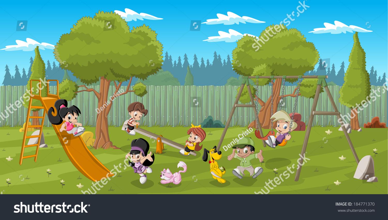 cute happy cartoon kids playing playground stock vector