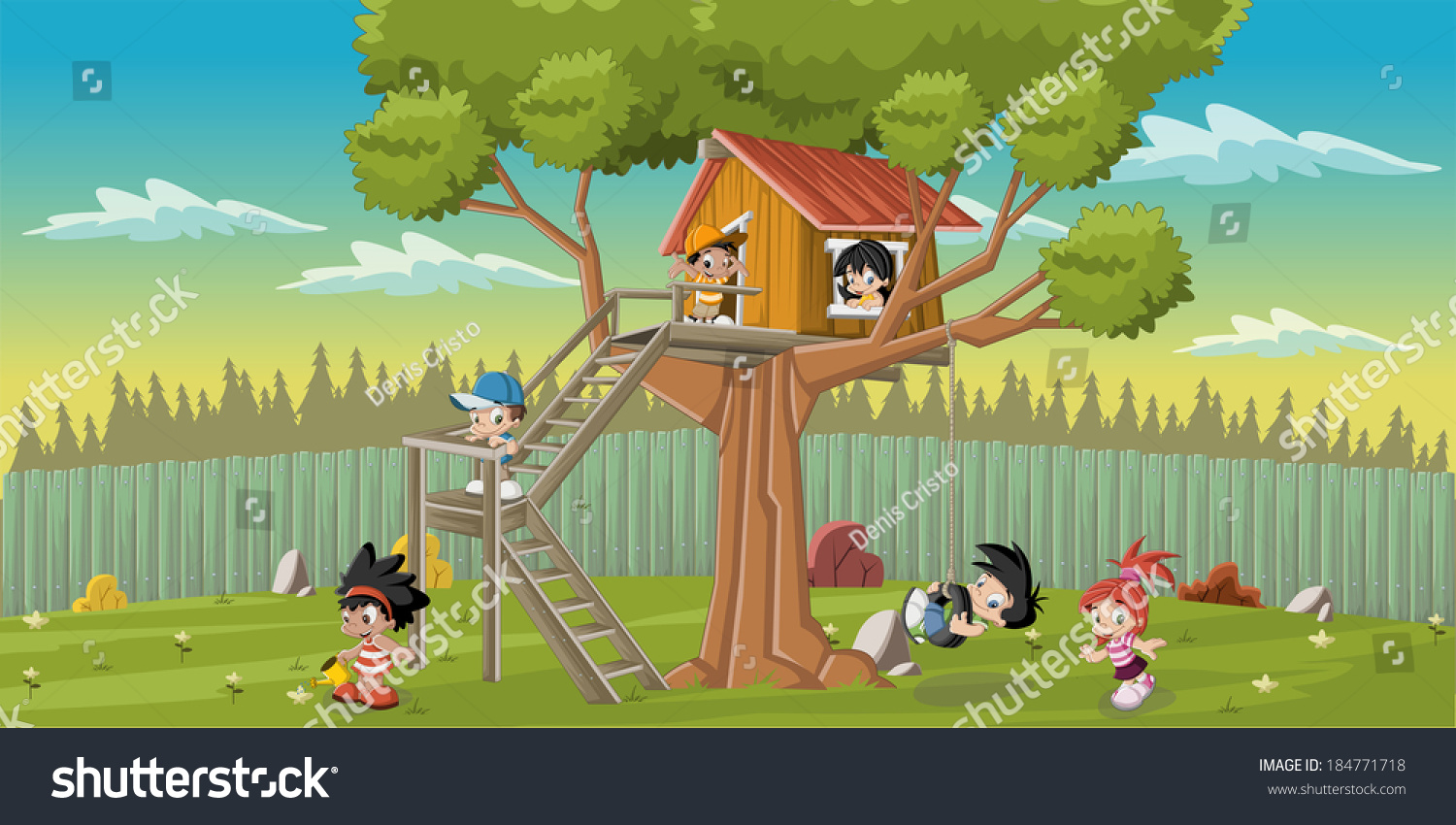 cute happy cartoon kids playing house stock vector 184771718