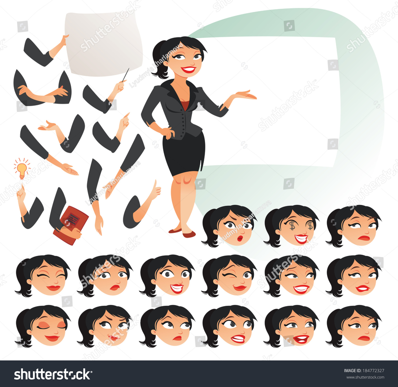 Businesswoman Parts Body Template Design Work Stock-vektorgrafik ...