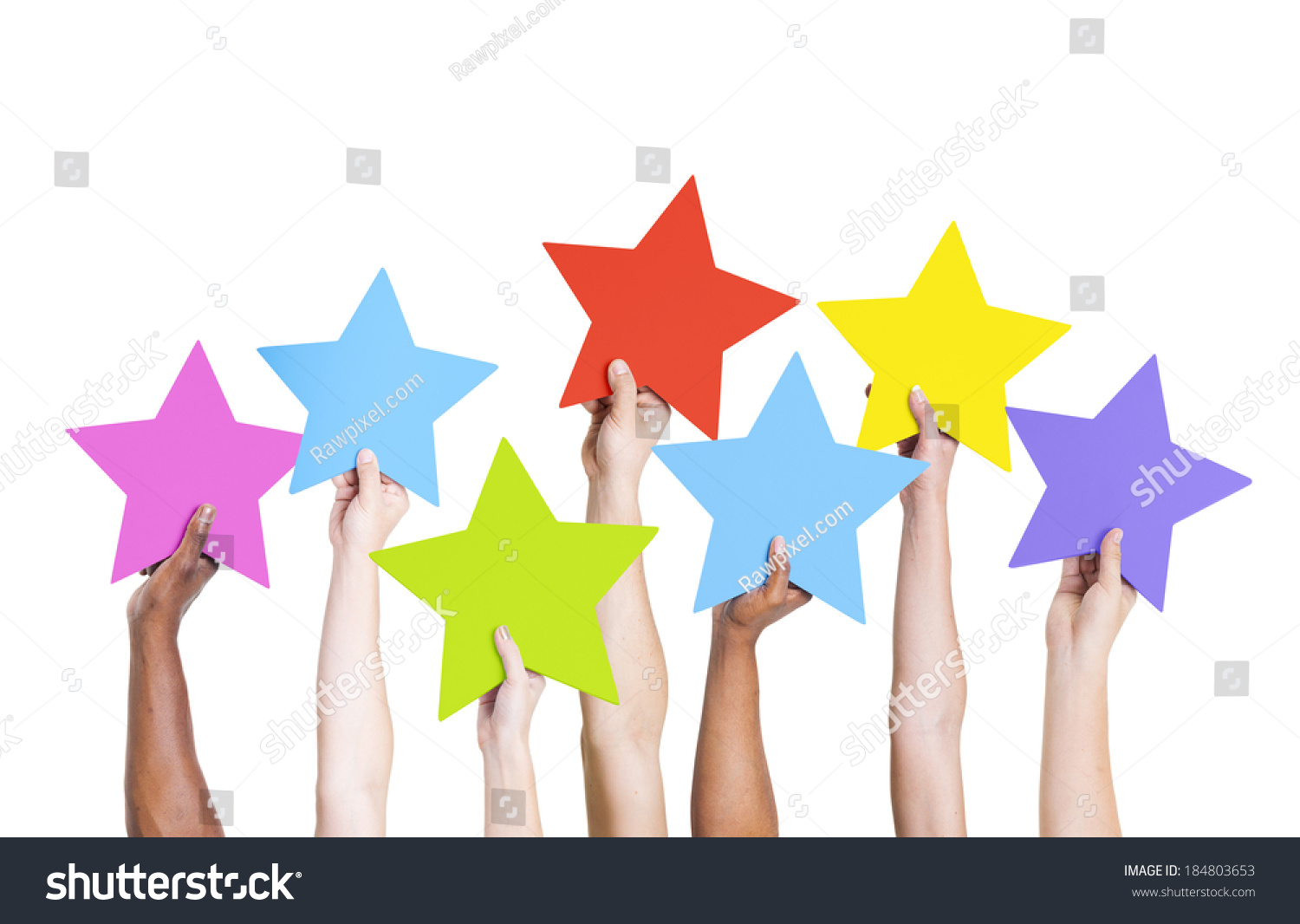 Diverse Hands Holding Colorful Stars #184803653