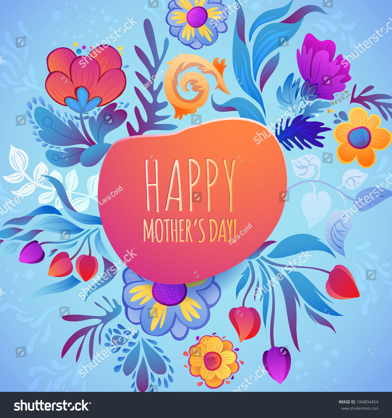Floral Spring Greeting Card Happy Birthday Stock Vector Royalty