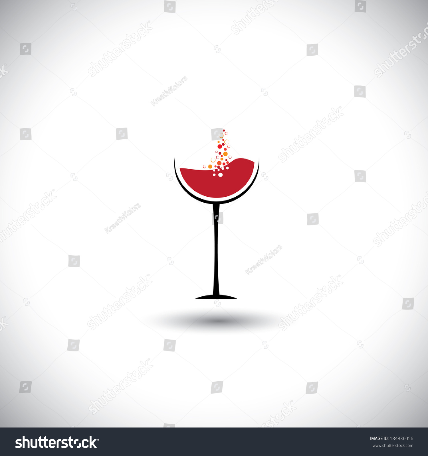 red wine bubbles wine glass abstract stock vector 184836056