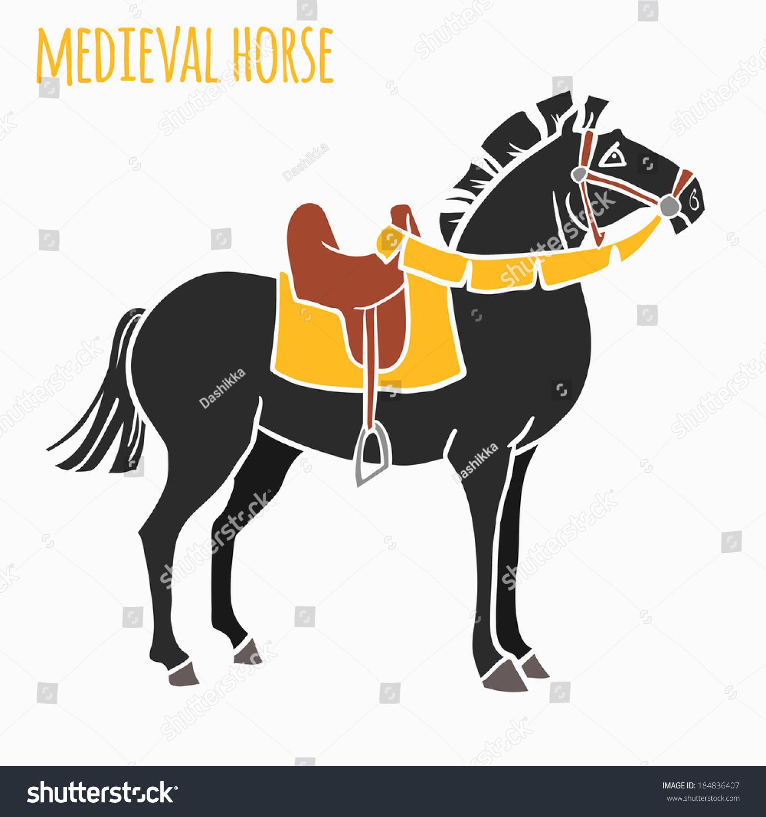 Vector De Stock Libre De Regalias Sobre Mediavel War Horse Vector Illustration184836407