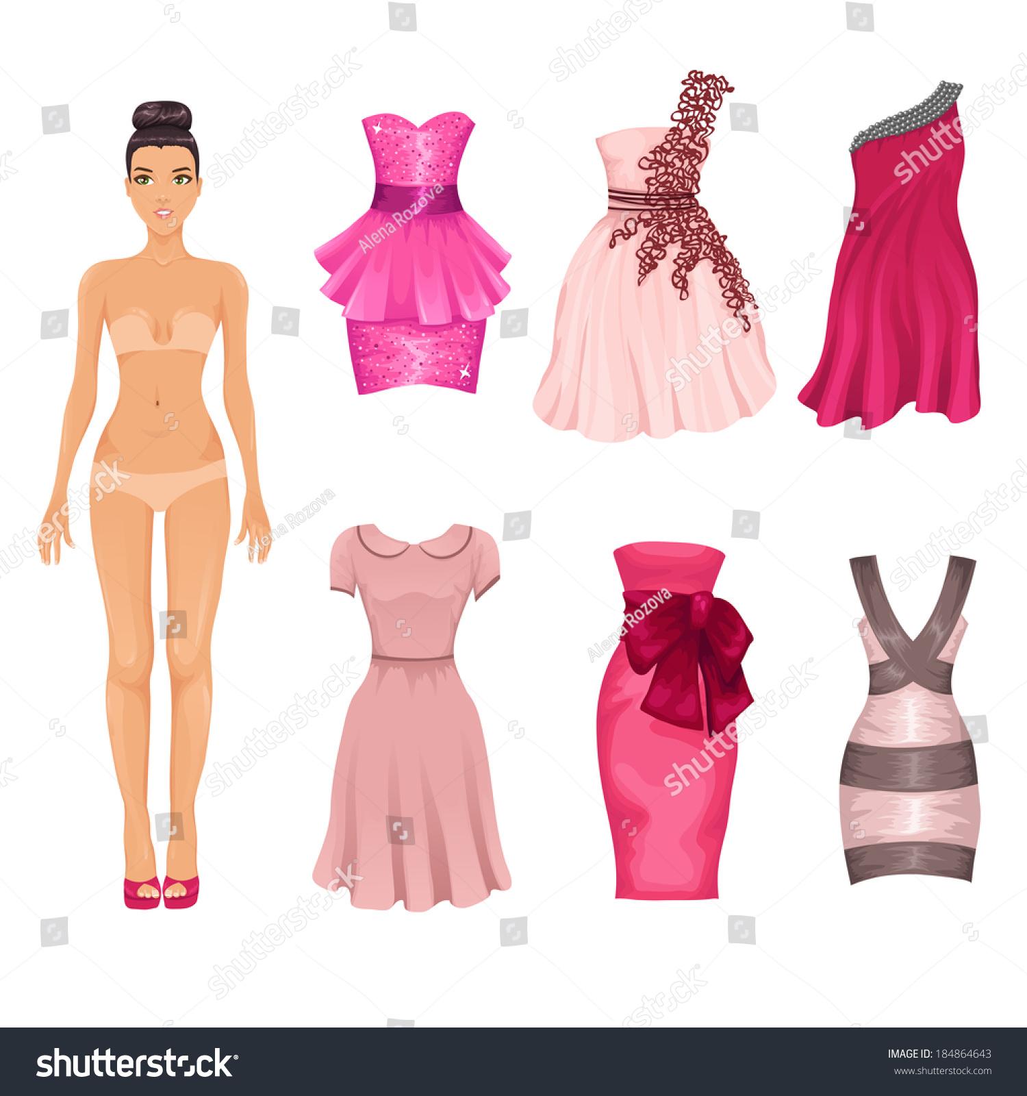 Vector Dressup Doll Assortment Pink Prom Vector de stock184864643 ...