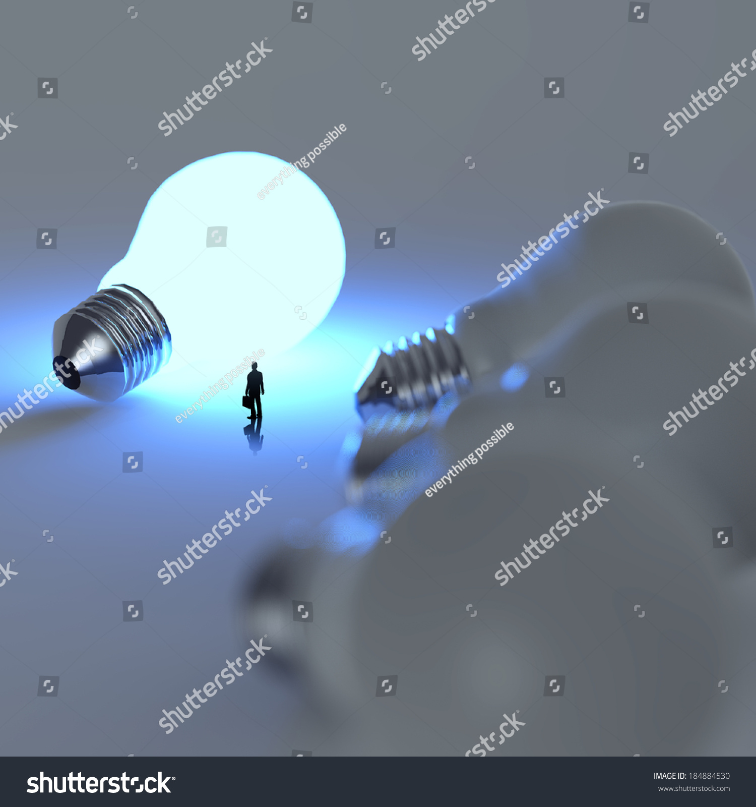 3d Growing Light Bulb Standing Out From The Unlit Incandescent Bulbs Diagram As Leadership Concept Ez Canvas