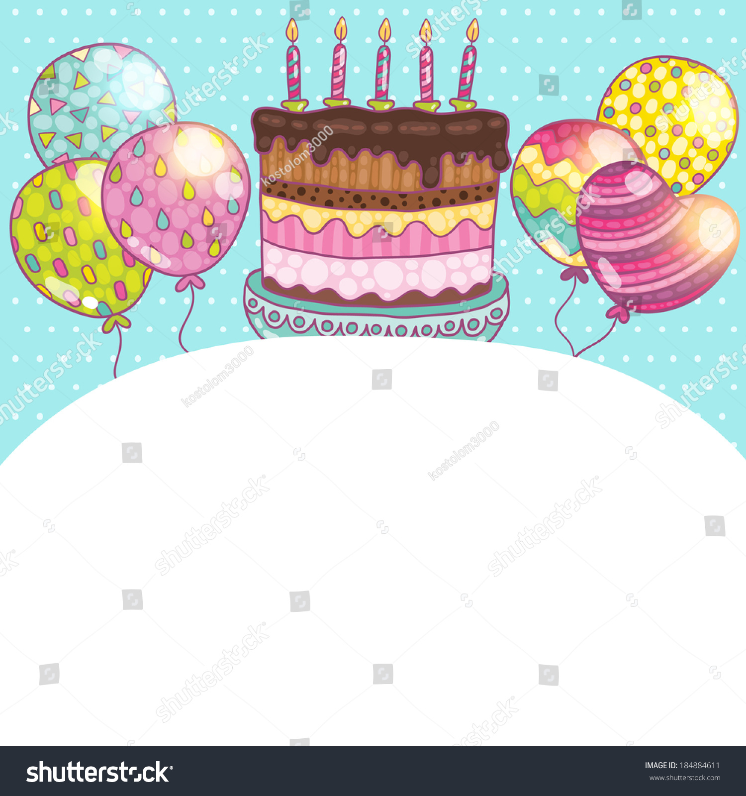Happy Birthday Card Background Cake Vector Vector 184884611 – Birthday Cake Card Template