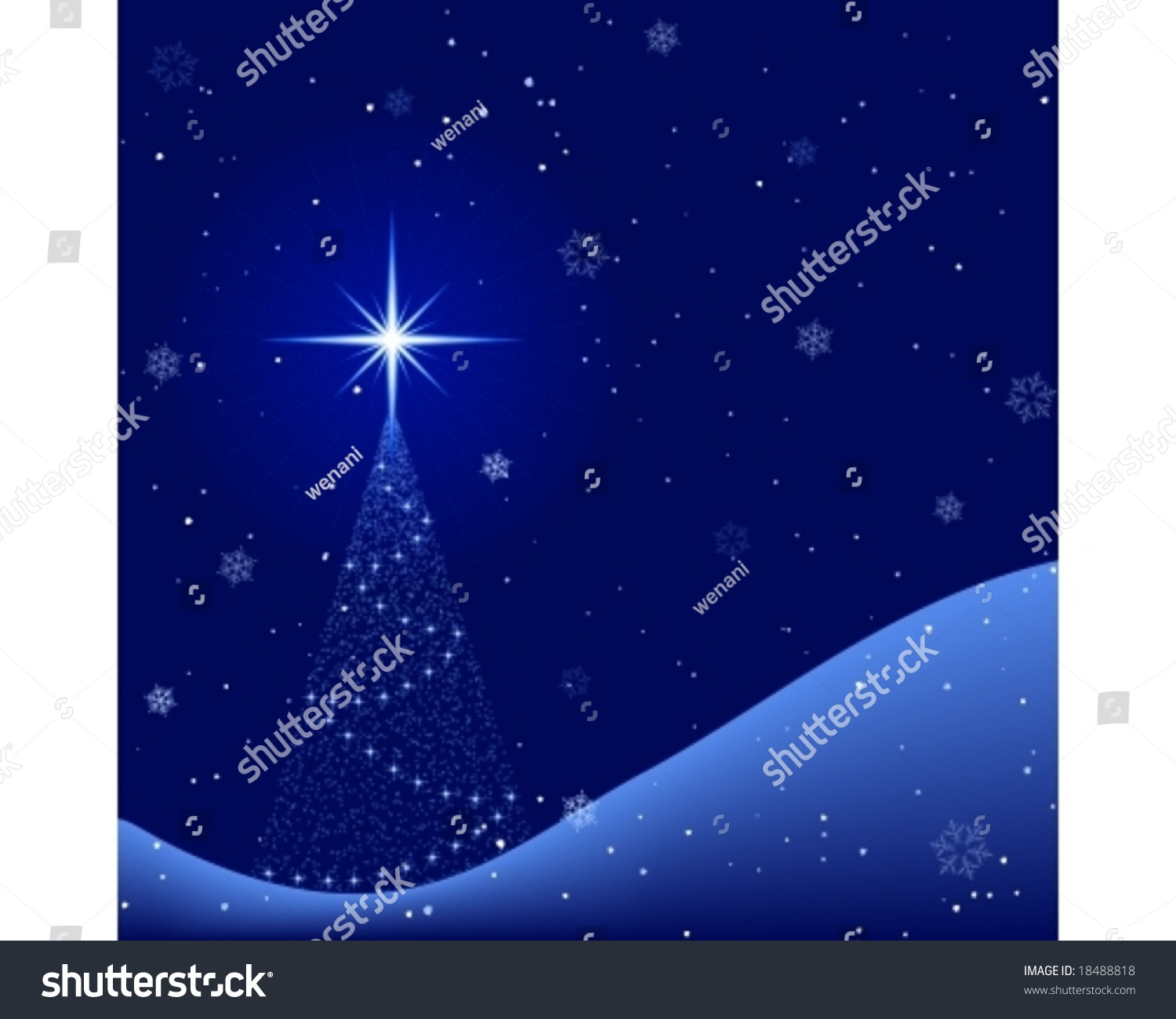 Christmas Tree Scenery Part - 33: Square Blue Christmas Card Showing A Peaceful Winter Night Scenery With A Christmas  Tree And Snowfall. Stock Vector Illustration 18488818 : Shutterstock