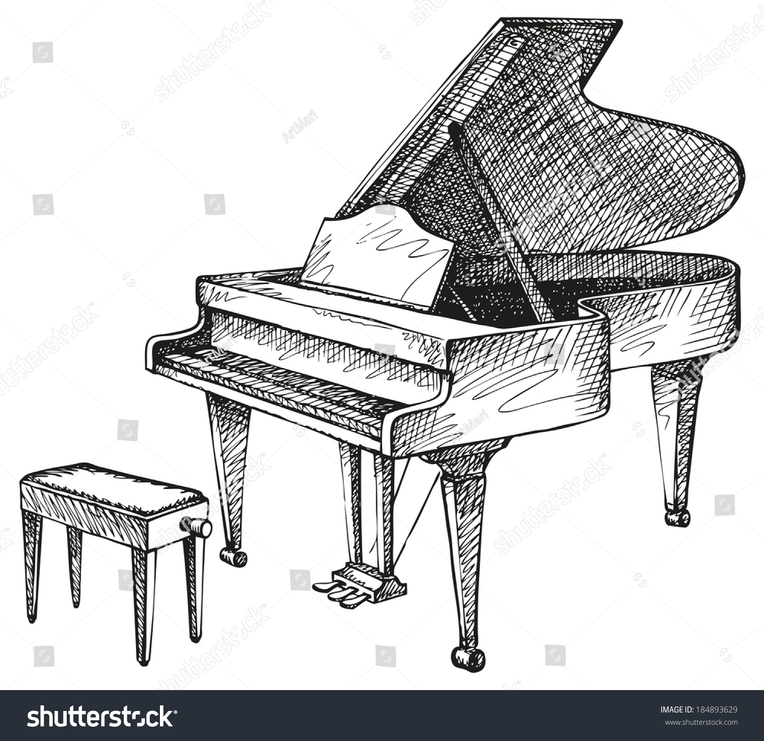Vector Freehand Drawing Open Grand Piano Stock Vector 184893629 - Shutterstock