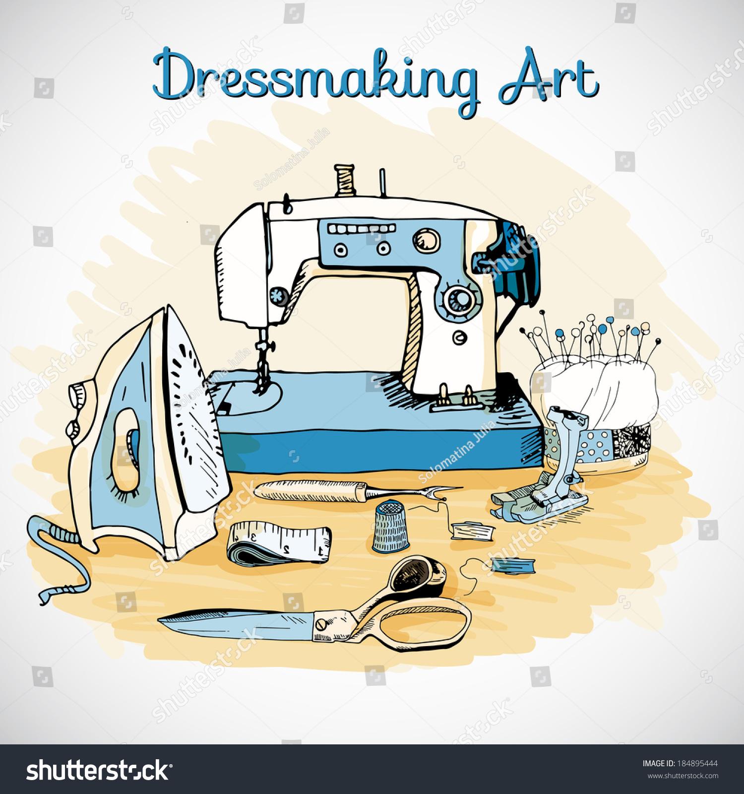 Dressmaking Art Sewing Tools Hand Drawn Stock Vector ...