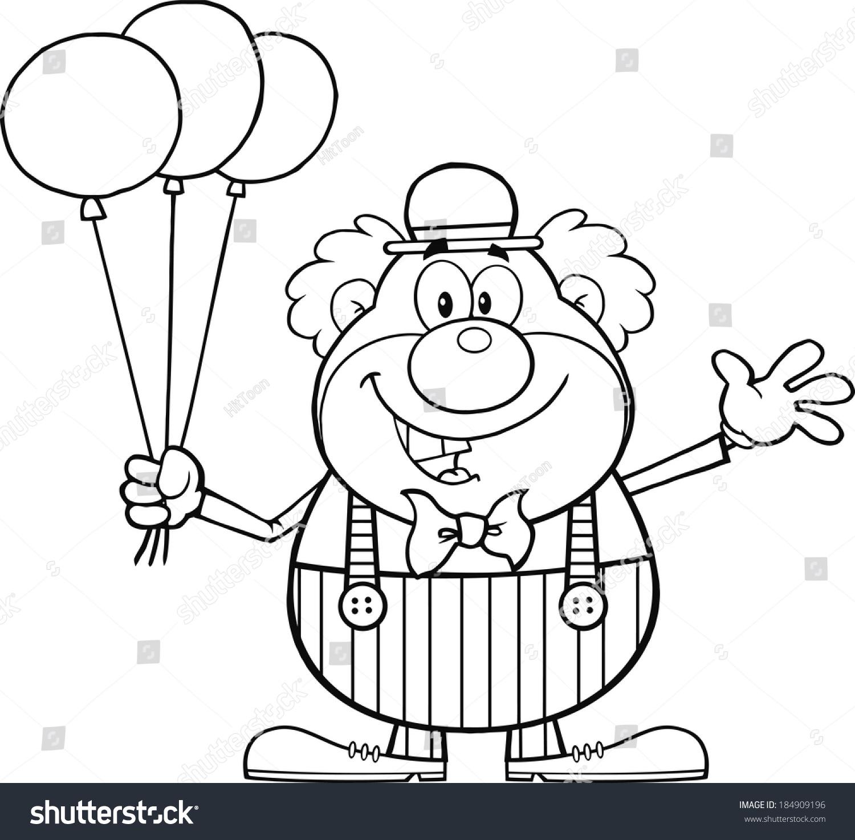 black white funny clown cartoon character stock vector