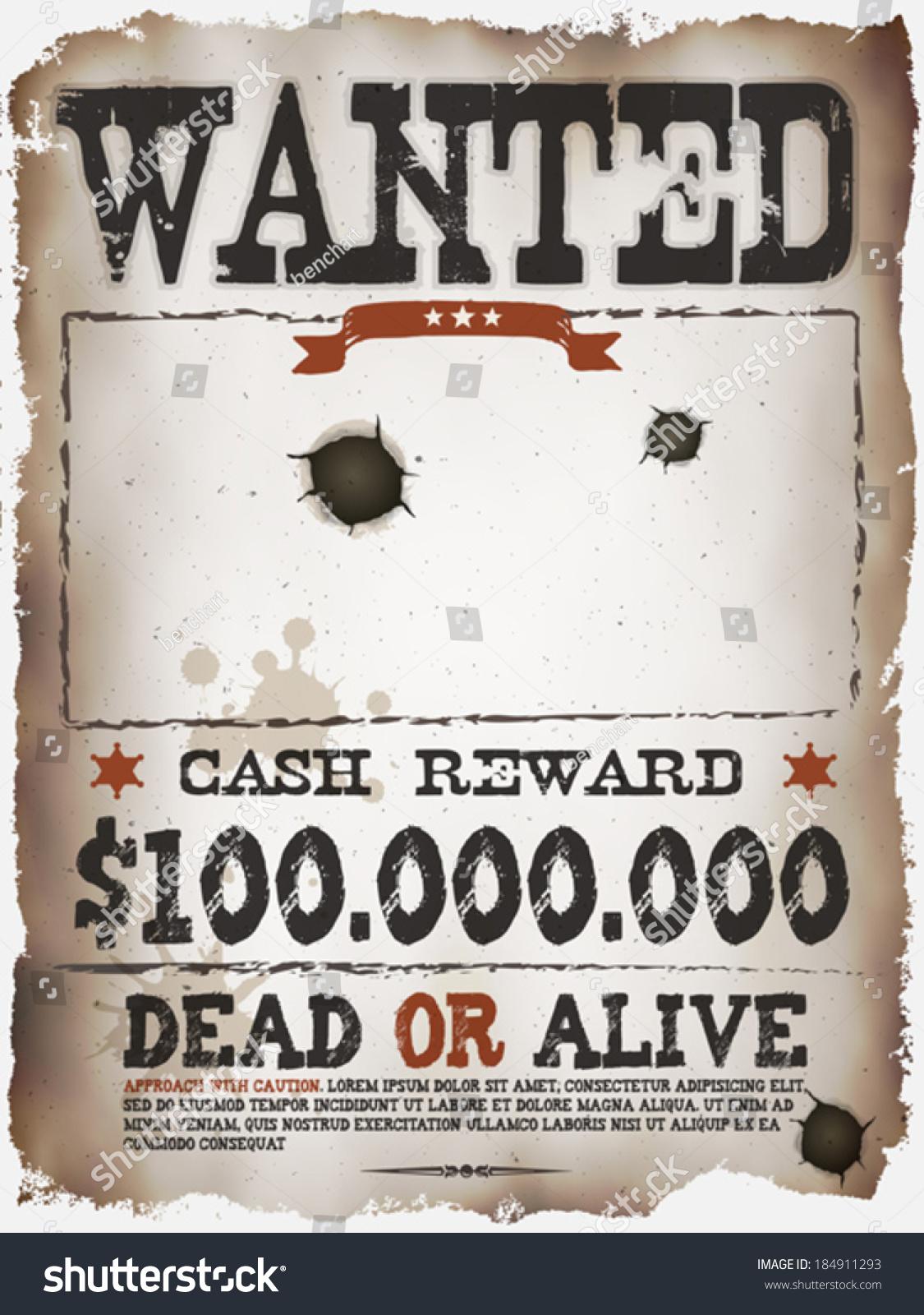 Wanted Vintage Western Poster Illustration Vintage Stock
