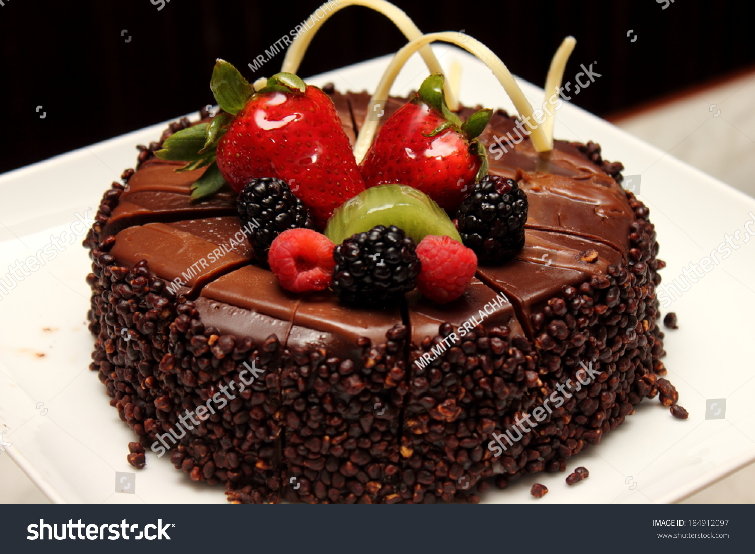 Fruit Chocolate Cake Images : Chocolate Fruit Cake Stock Photo 184912097 : Shutterstock
