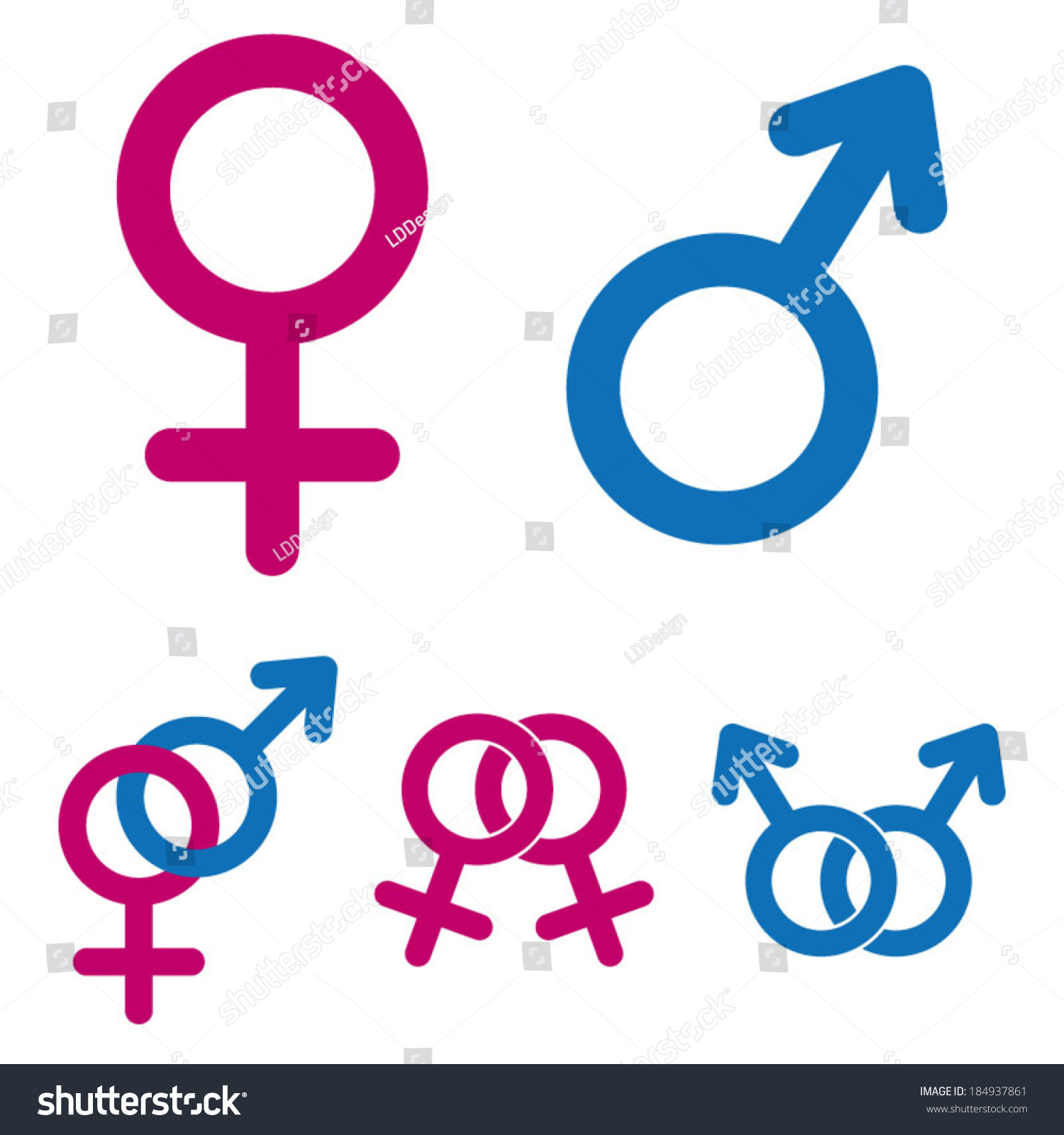 Male Female Symbols Stock Vector Hd Royalty Free 184937861