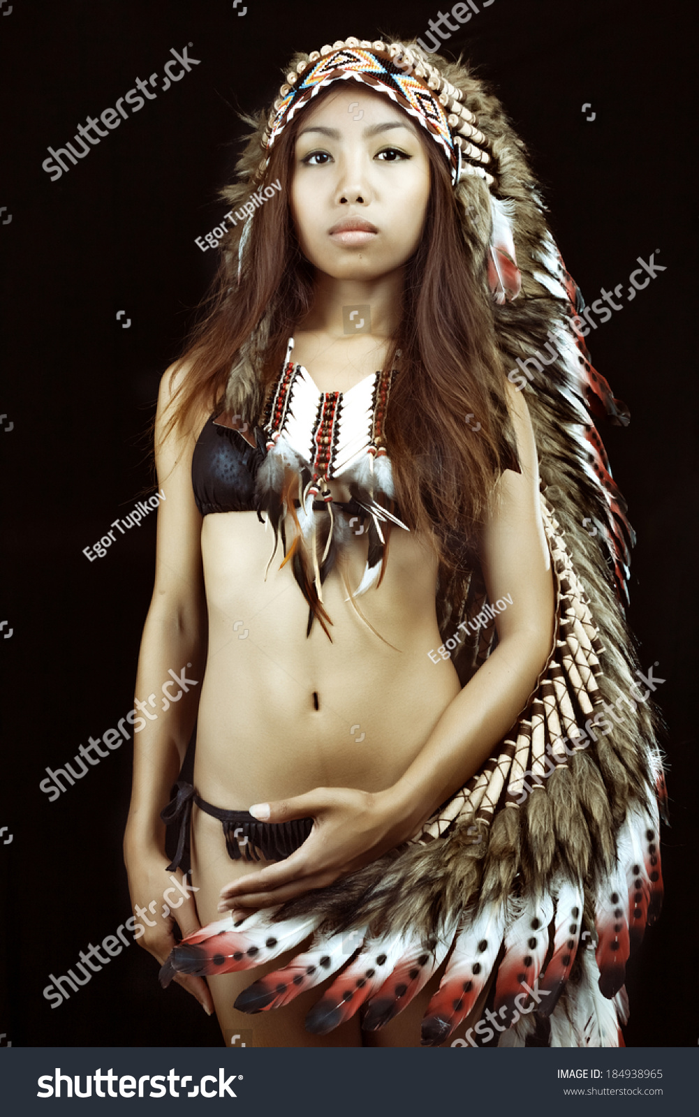 native american indians traditional dress standing stock photo