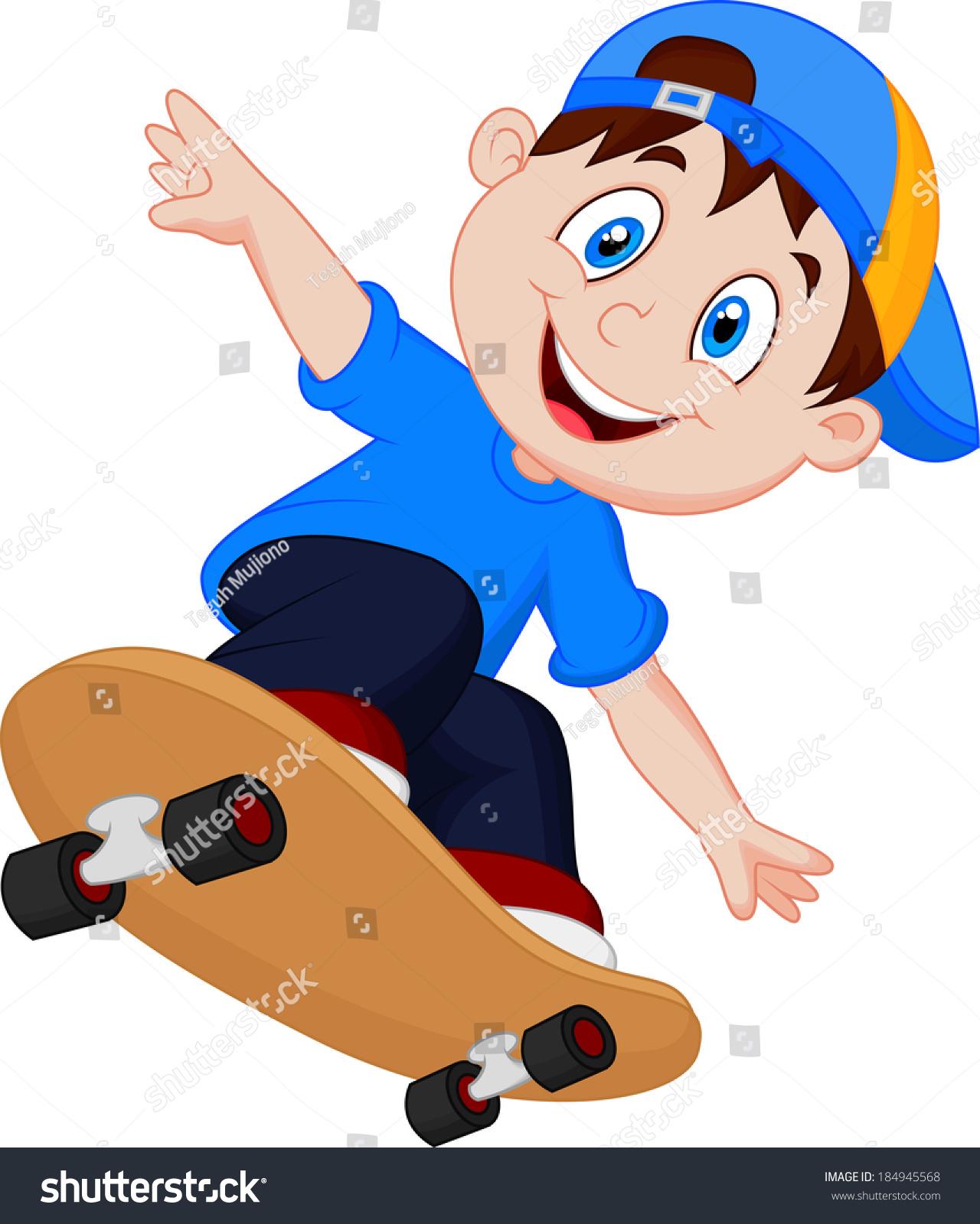 Cartoon Skateboard Boy Happy Stock Vector