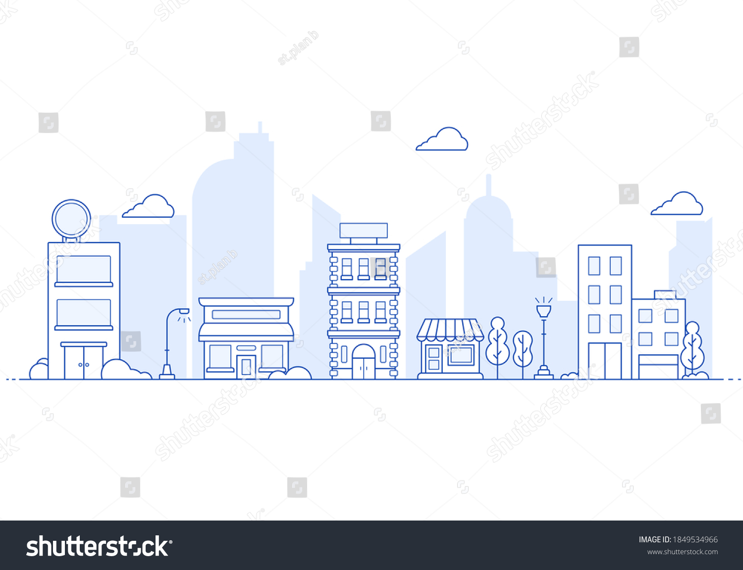 Thin line City landscape. Downtown landscape with high skyscrapers. Panorama architecture City landscape template. buildings and store, shop Isolated outline illustration.