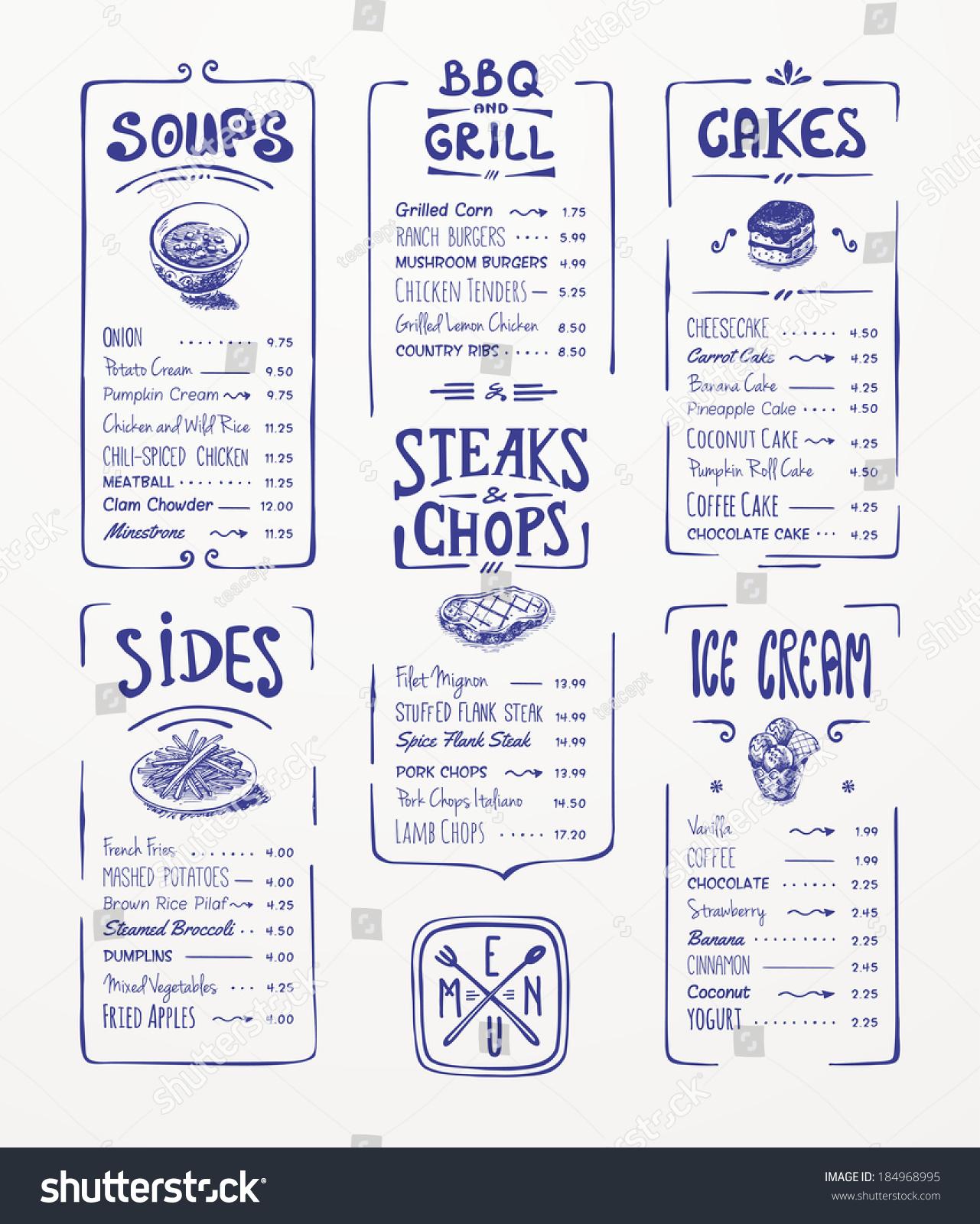 menu template blue pen drawingsoups sides stock vector 184968995 shutterstock. Black Bedroom Furniture Sets. Home Design Ideas