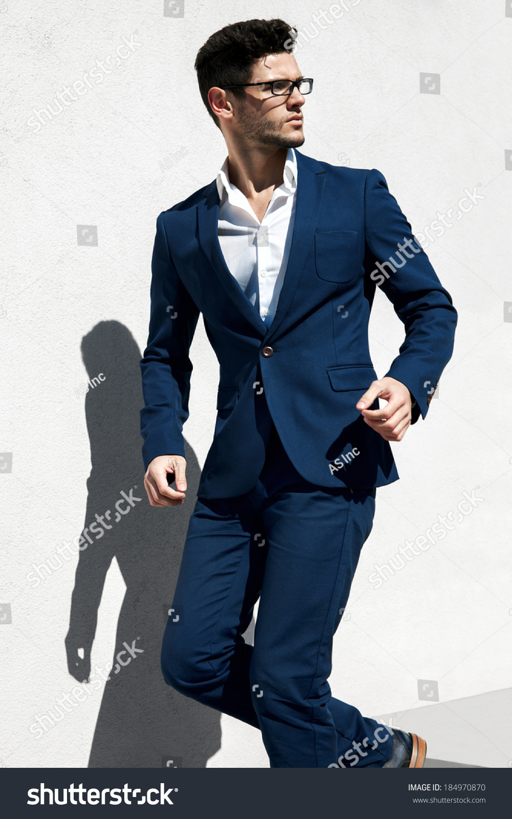 Elegant Young Handsome Man Wearing Glasses Stock Photo ...