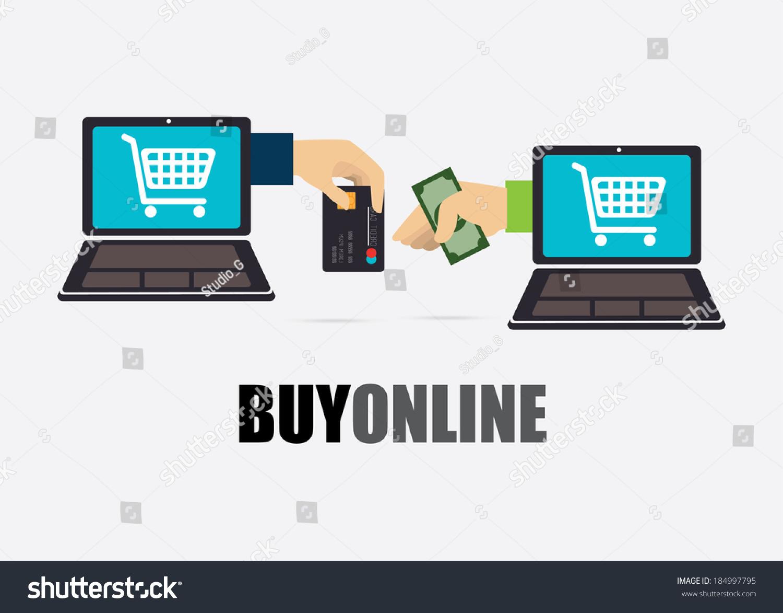 Buy Online Design Over Gray Background Stock Vector 184997795 ...
