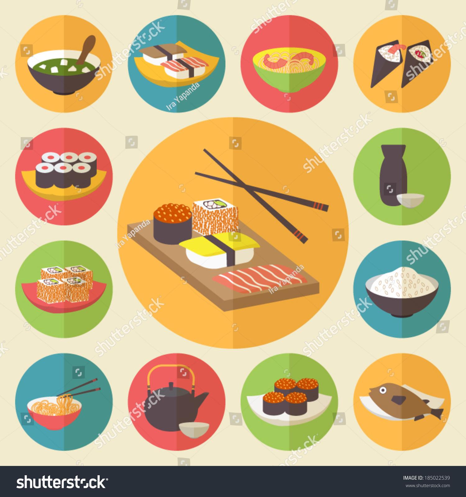 Japanese food design flat banner japanese sushi chinese food japan - Image Gallery Japanese Cuisine Design