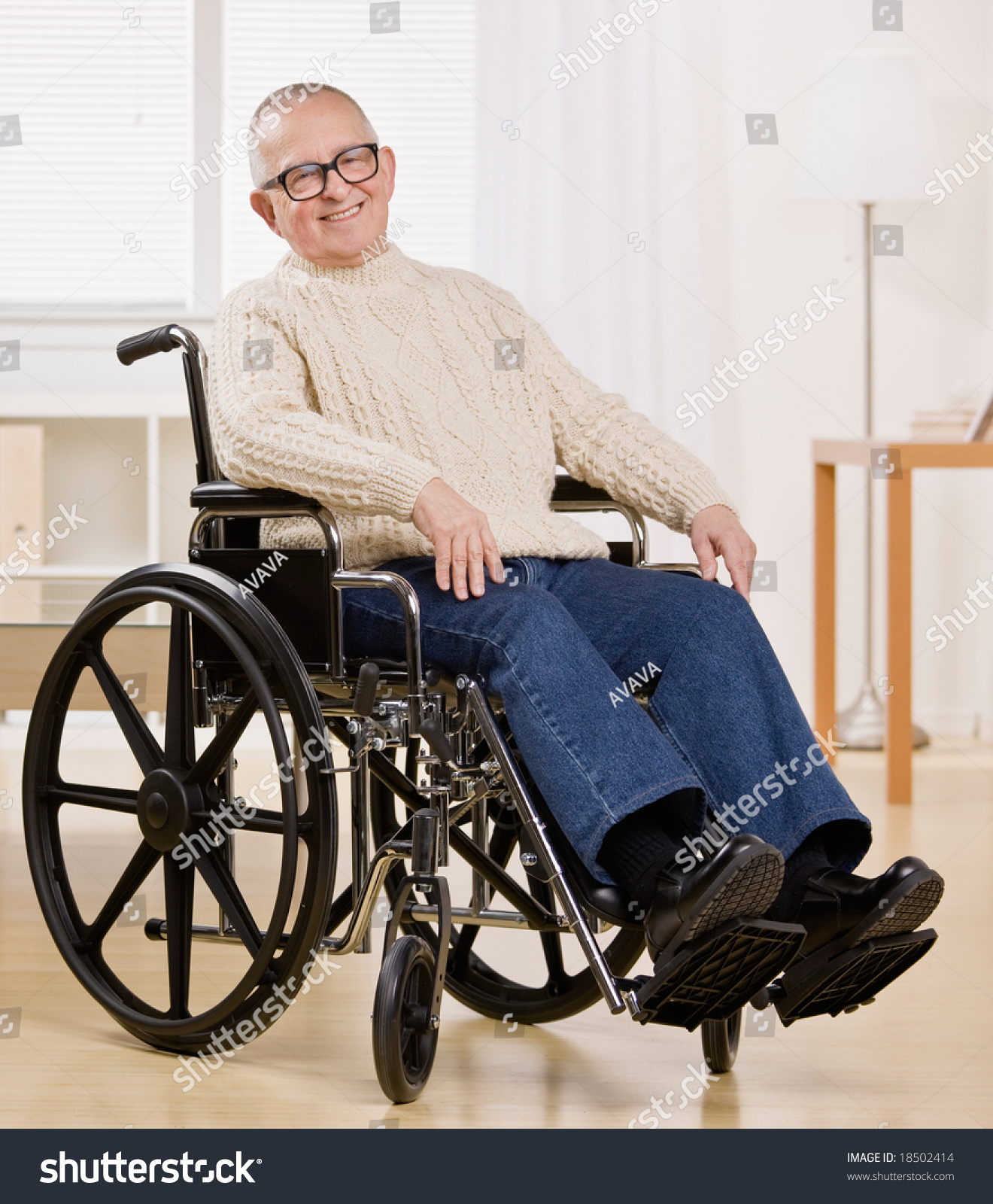 Happy Disabled Man Wheelchair Stock Photo 18502414
