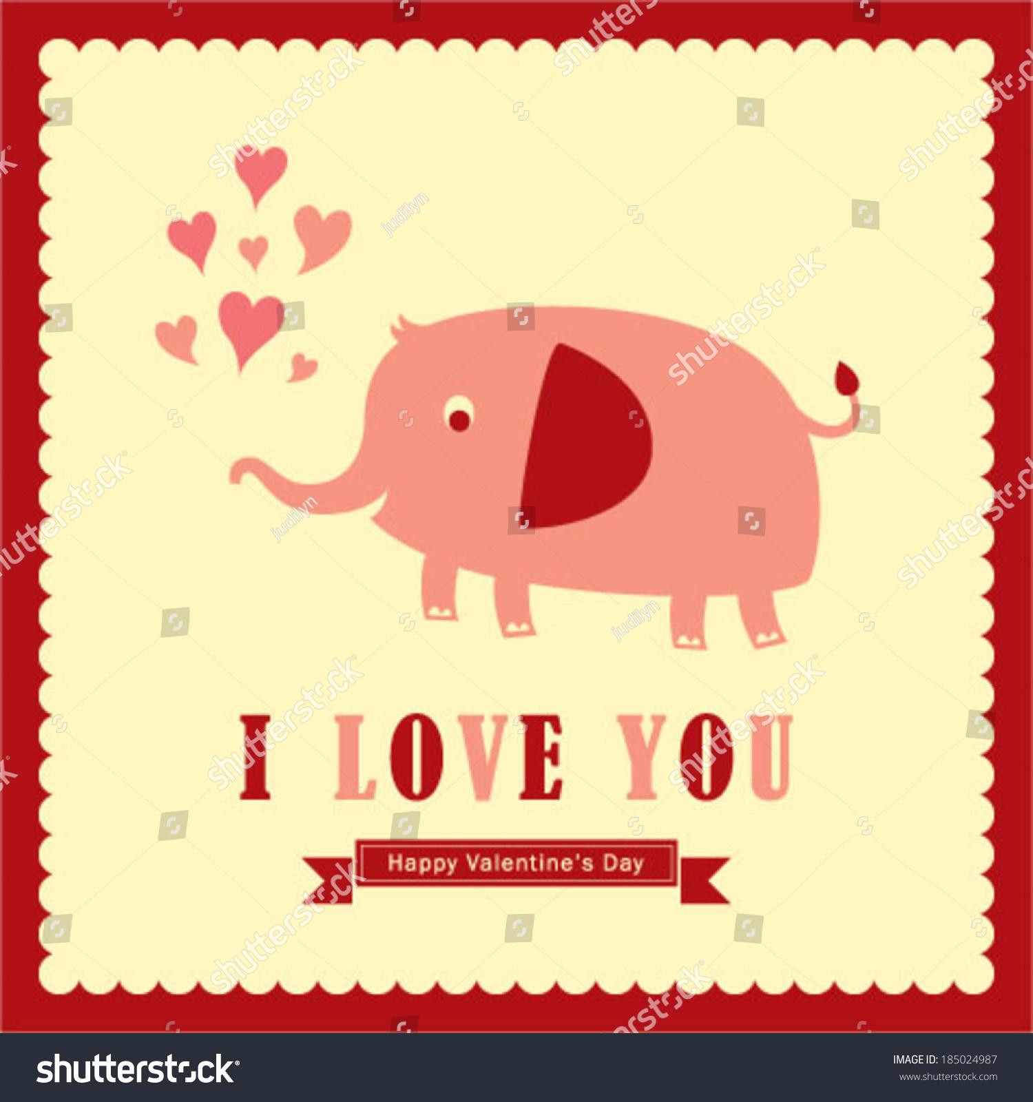 elephant valentine greeting card - Elephant Valentine
