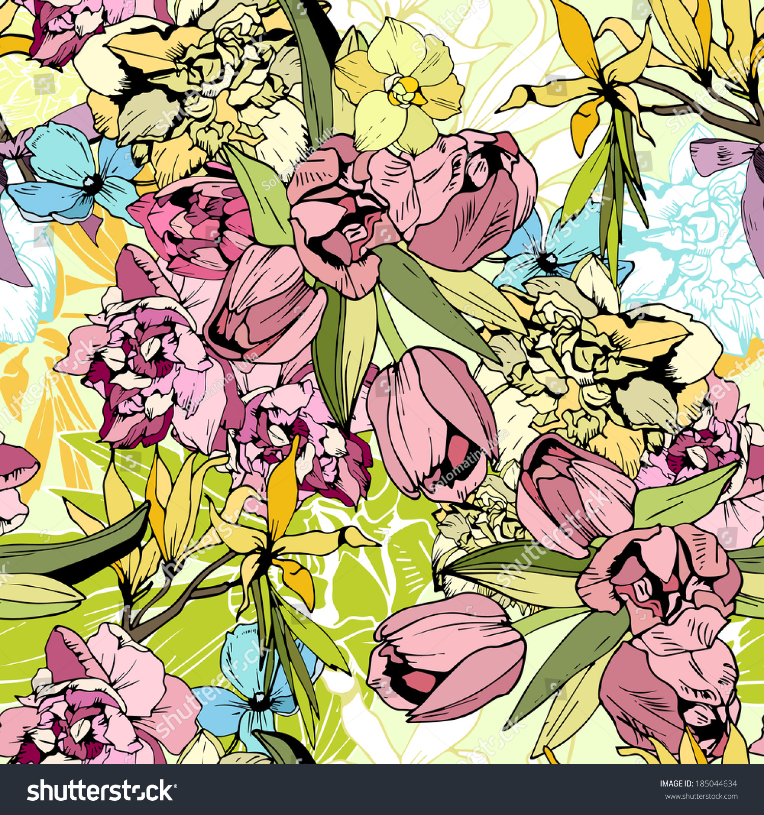Bright Spring Flowers Seamless Pattern Hand Stock Vector 185044634