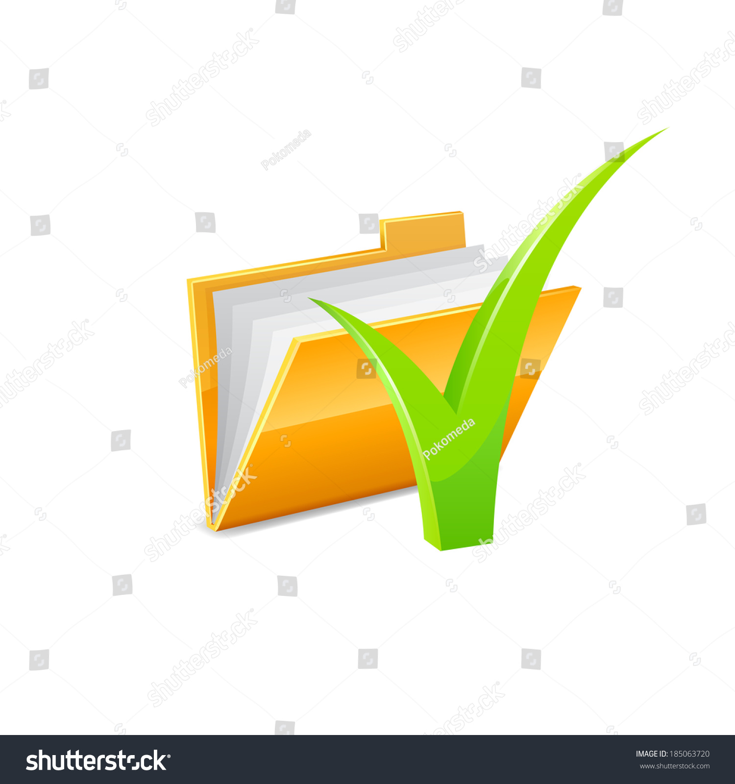 Yellow Folder Icon With Green Check Mark Isolated On White Raster