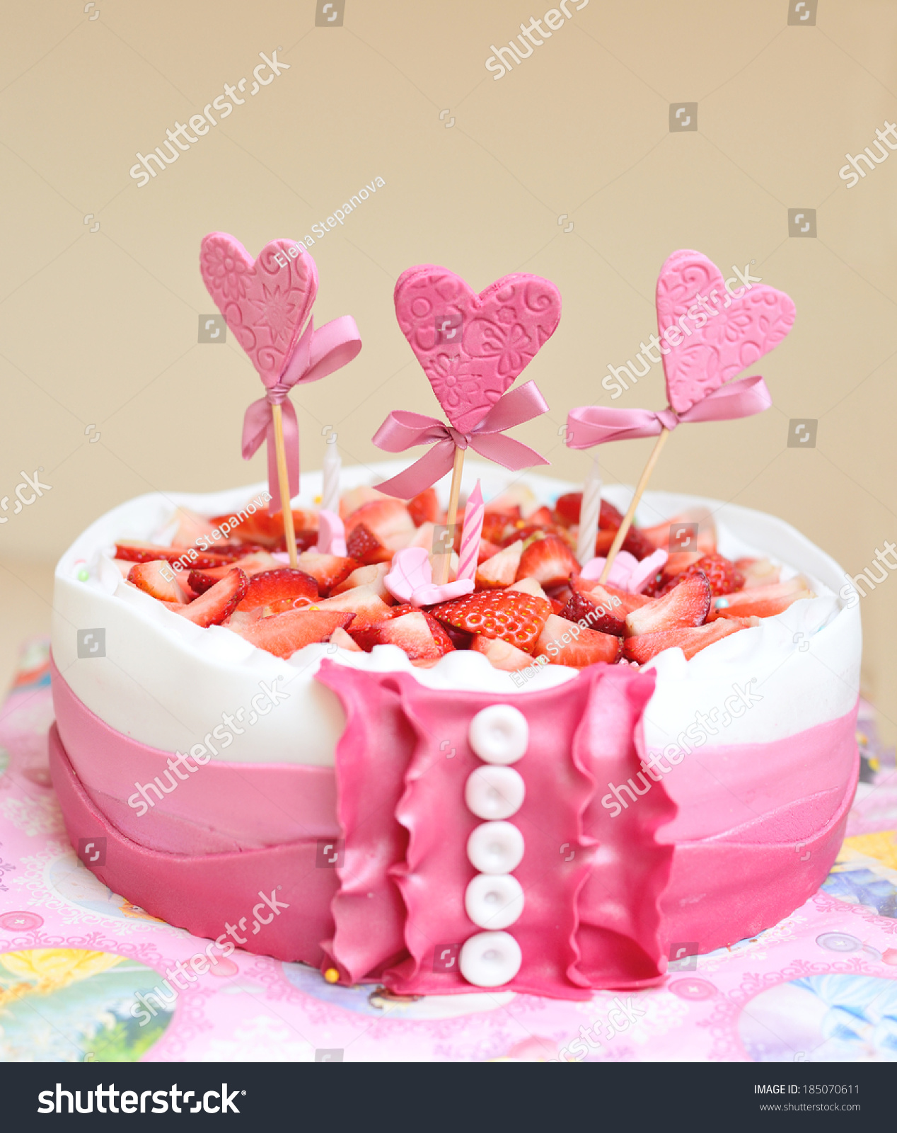Fine Birthday Cake Little Girl Stock Photo Edit Now 185070611 Funny Birthday Cards Online Necthendildamsfinfo