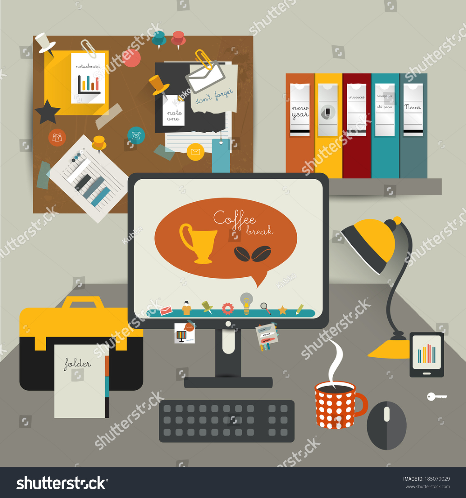 Work office table flat design vector stock vector for Table design vector
