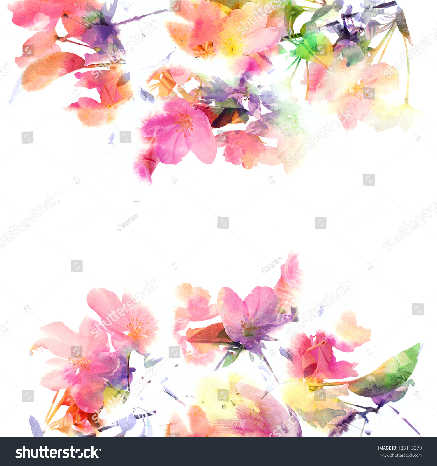 Floral Background Watercolor Floral Bouquet Birthday Stock