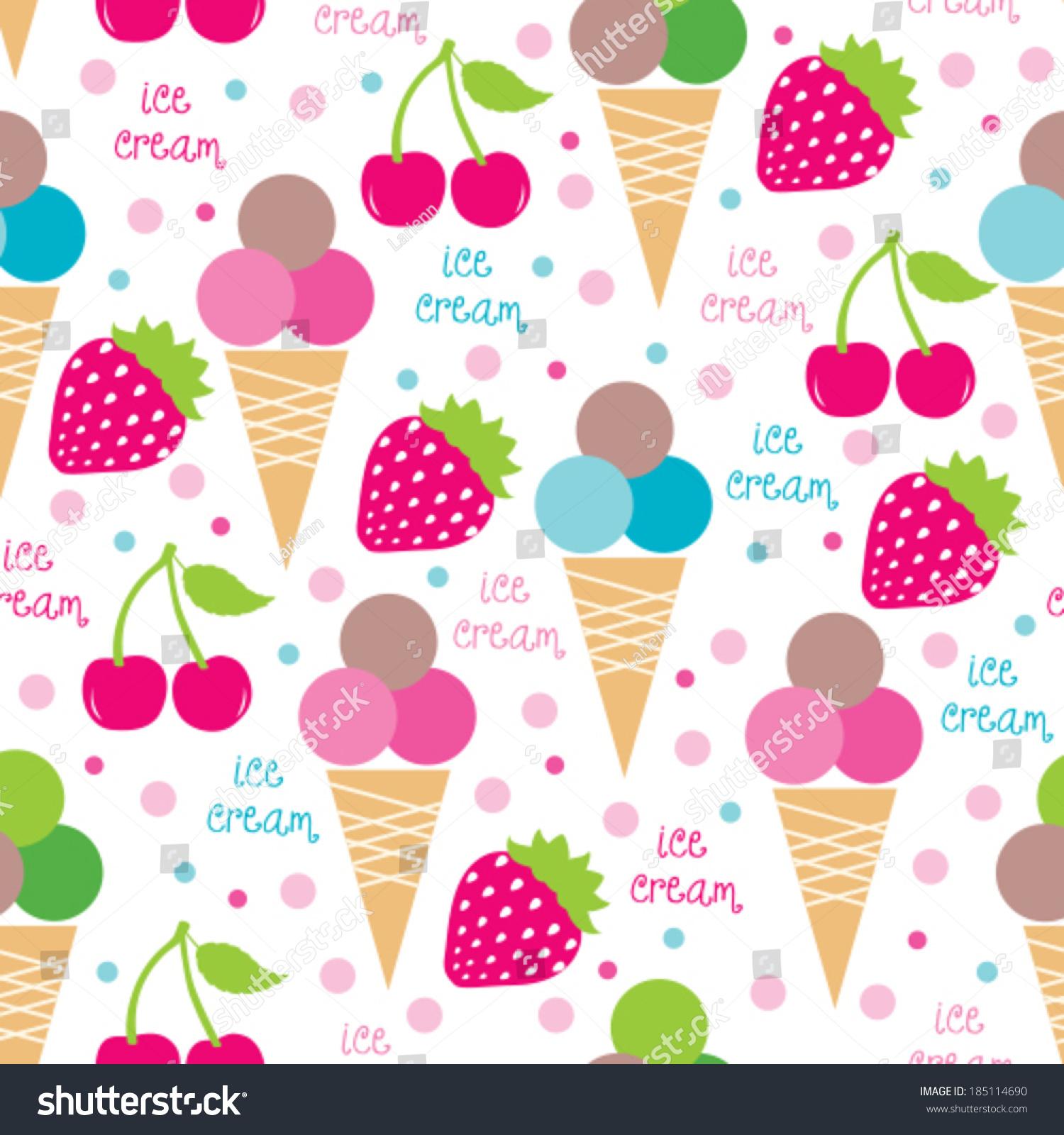 Ice Cream Cones Seamless Pattern Background Stock Vector: Ice Cream Cones And Fruits Seamless Pattern Vector