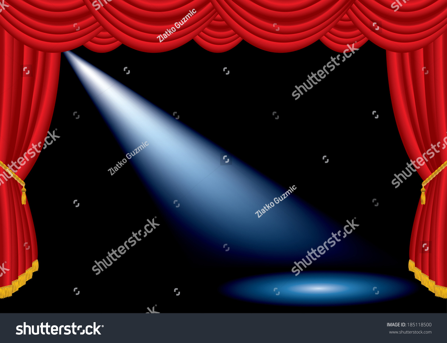 Red curtain spotlight - Vector One Spotlight On Stage With Red Curtain