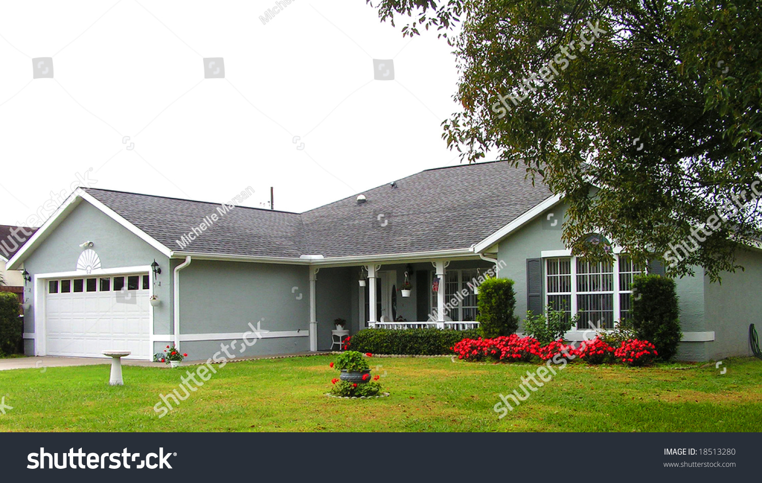 Ranch Home Florida Nice Landscaping Stock Photo 18513280