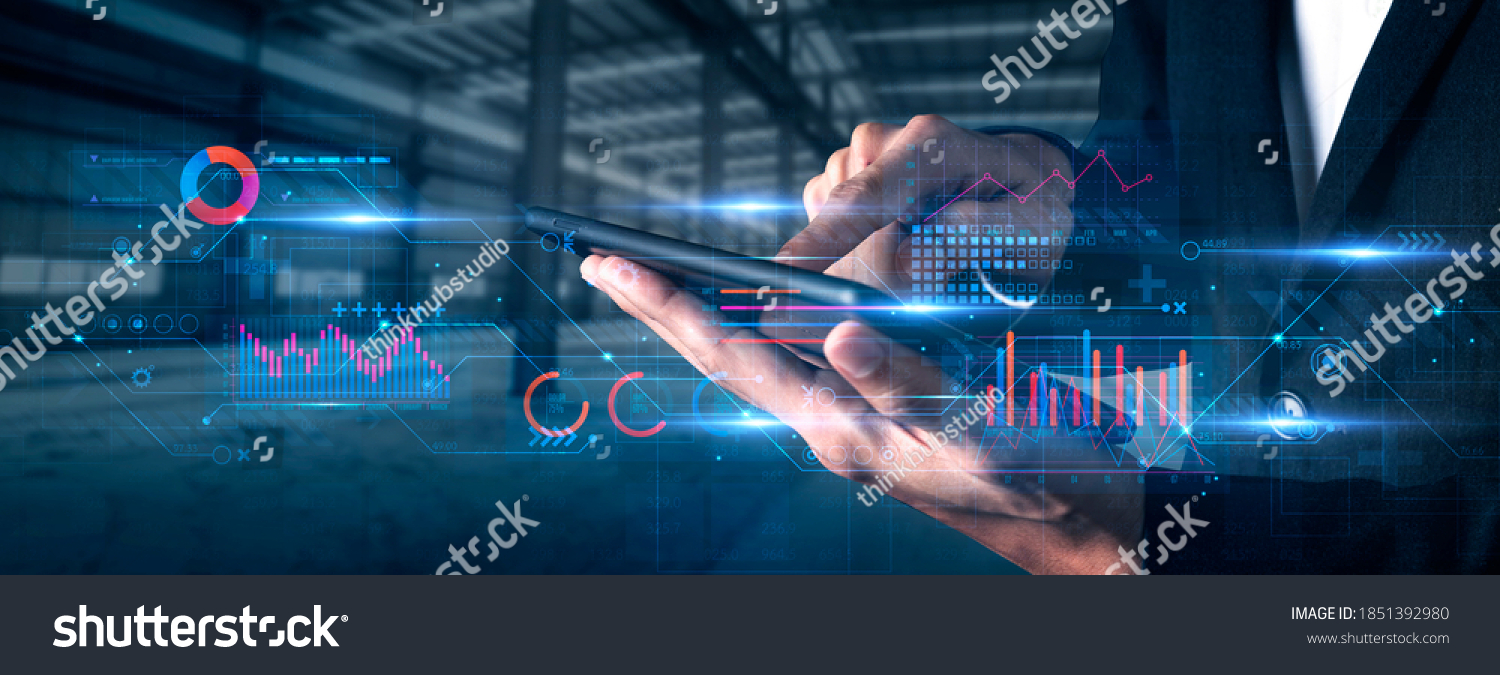 Finance business investment strategy competition, investment security data analytic artificial intelligence technology finger point futuristic graph chart stock exchange data finance symbol screen #1851392980