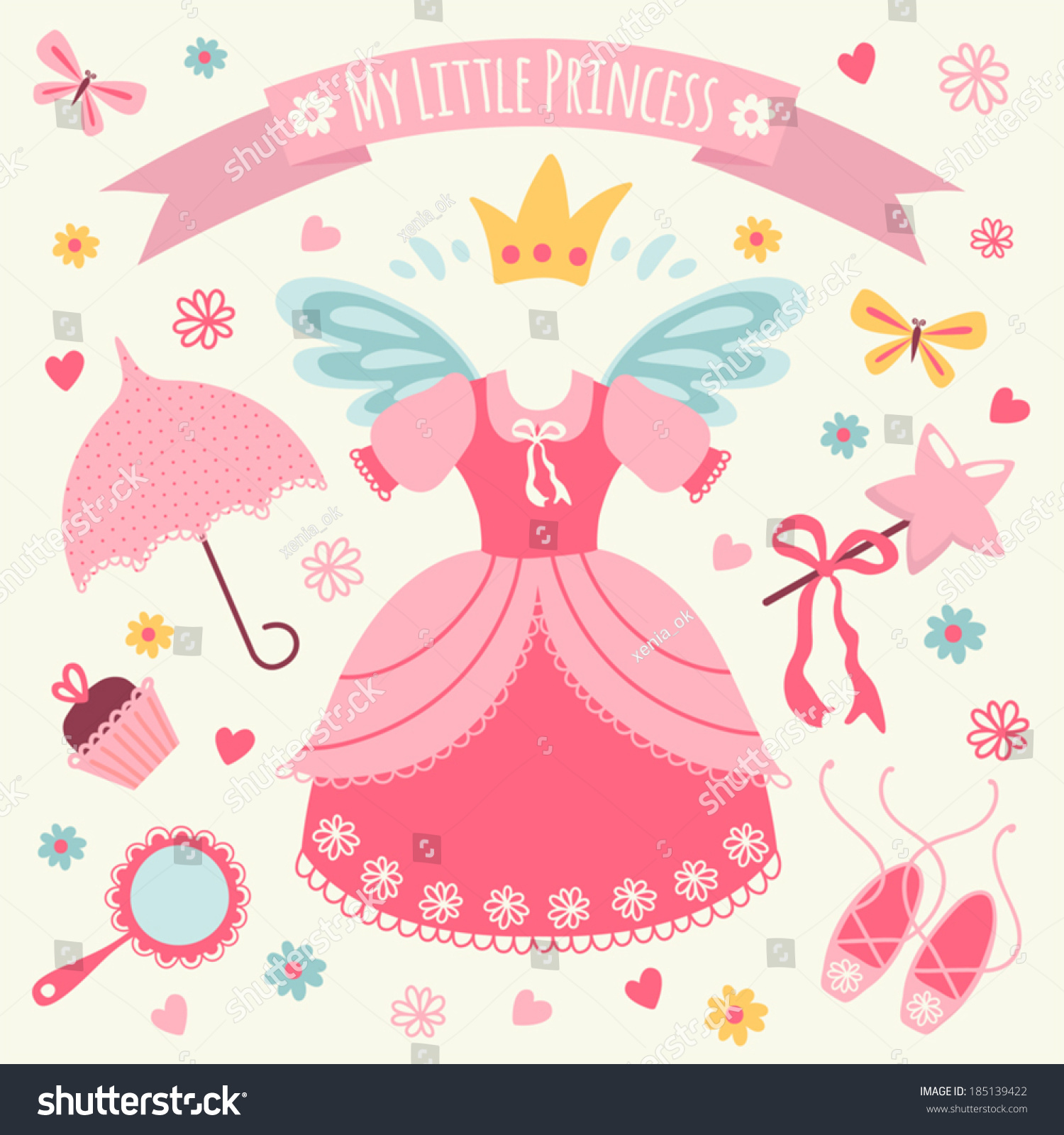 set accessories little princess template greeting stock vector set of accessories for little princess template greeting card or invitation