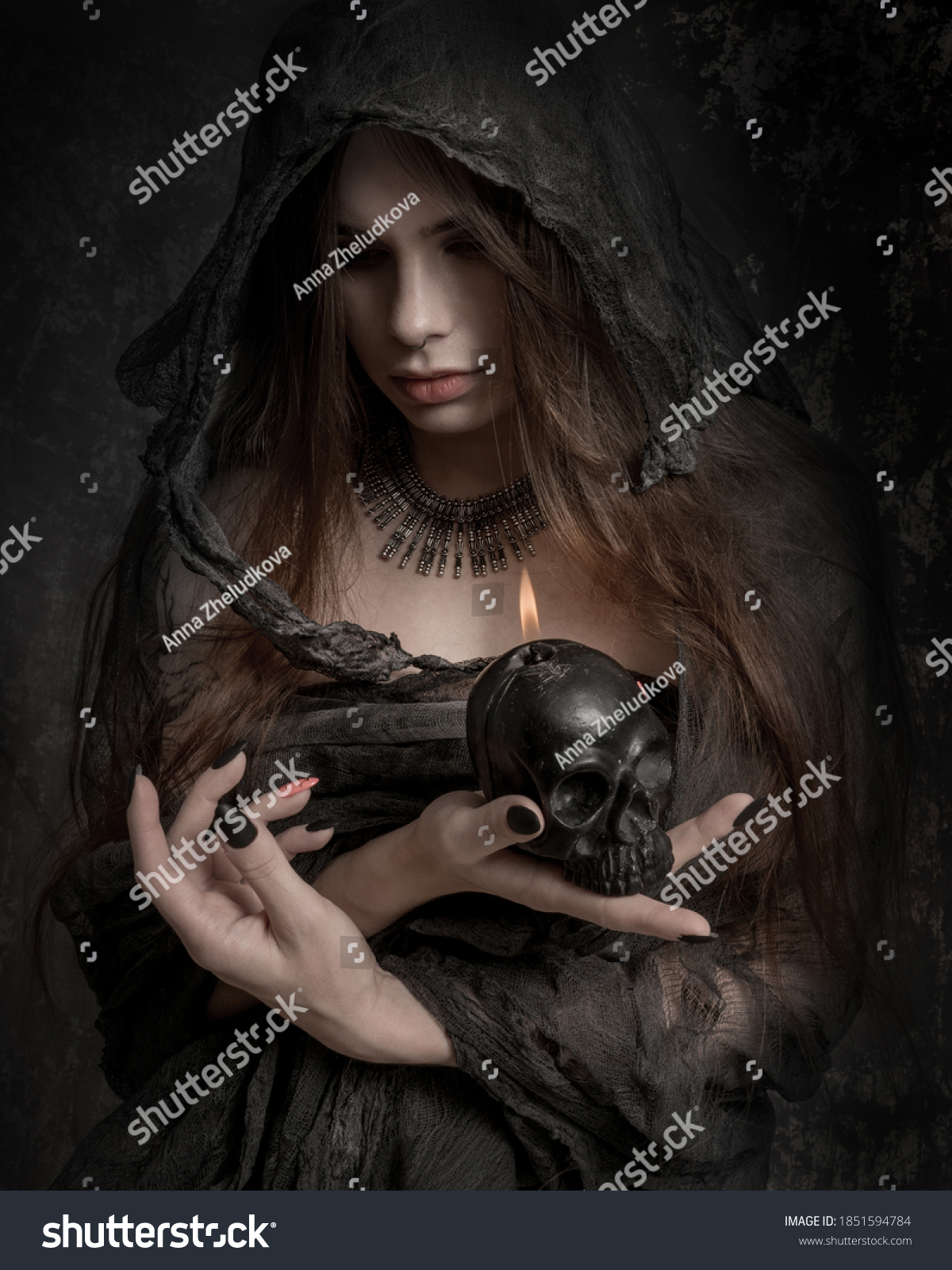 Close-up portrait of a witch, ugly old grey costome #1851594784