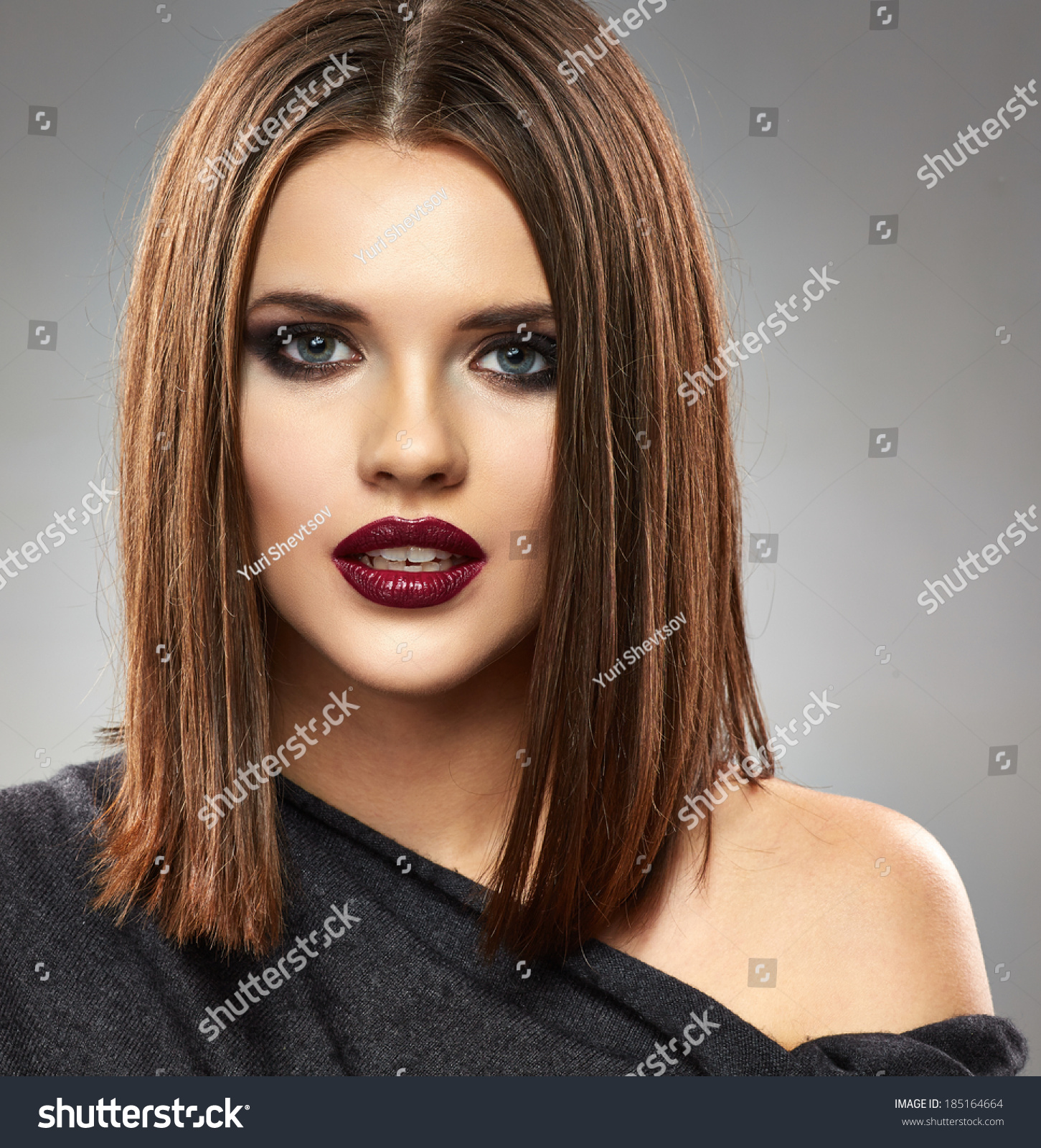 Beautiful Model Straight Hair Style Red Stock Photo Edit Now