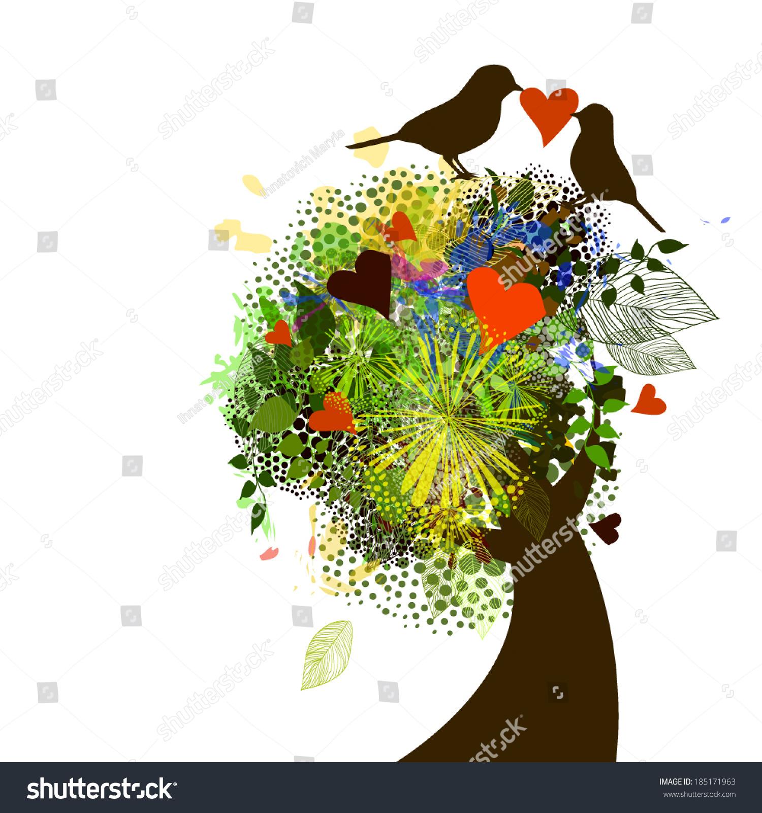 Beautiful Tree Flowers Birds Love Message Stock Vector Royalty Free