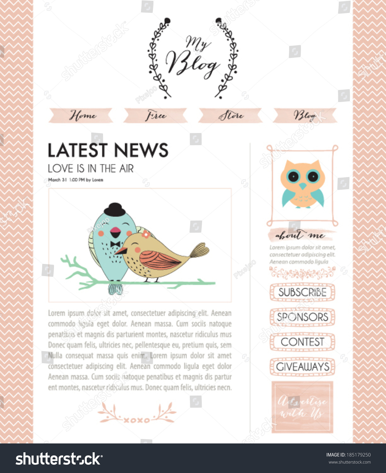 Blog Template Design Vector Stock Vector 185179250 - Shutterstock