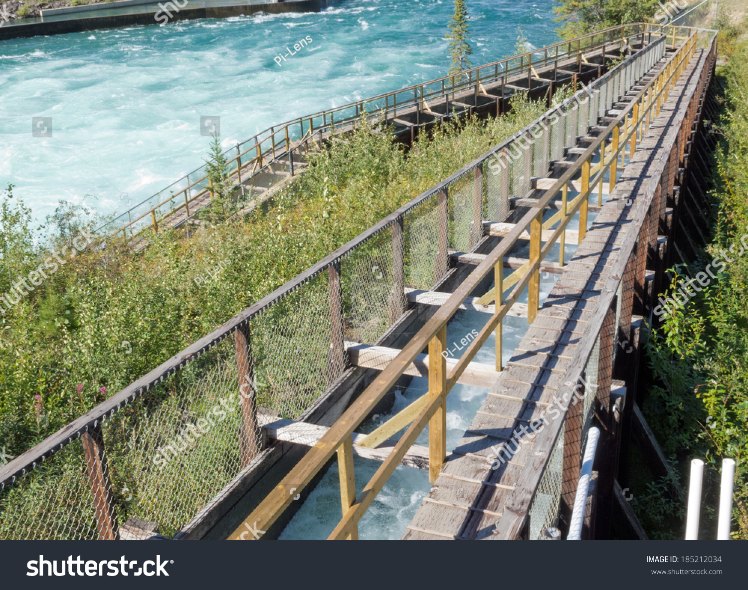 Whitehorse Fish Ladder world's longest wooden Fishway lets Salmon get past dam to their spawning grounds Yukon Territory Canada