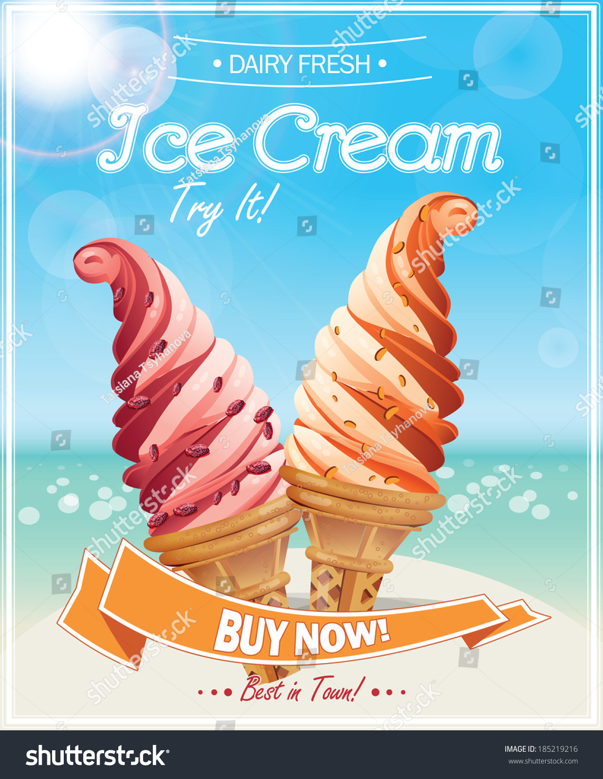 Ice Cream Poster Vector Illustration Stock Vector 185219216 ...