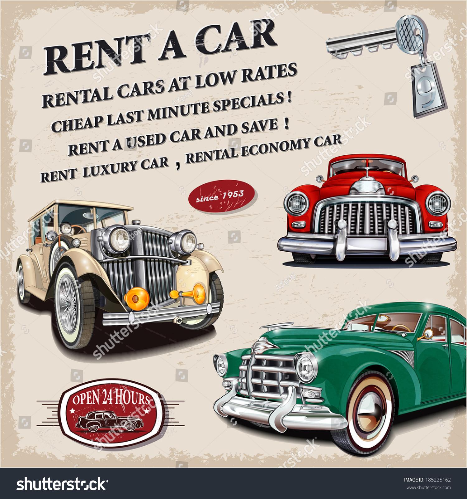 Rent a car retro poster. Rent Car Retro Poster Stock Vector 185225162   Shutterstock