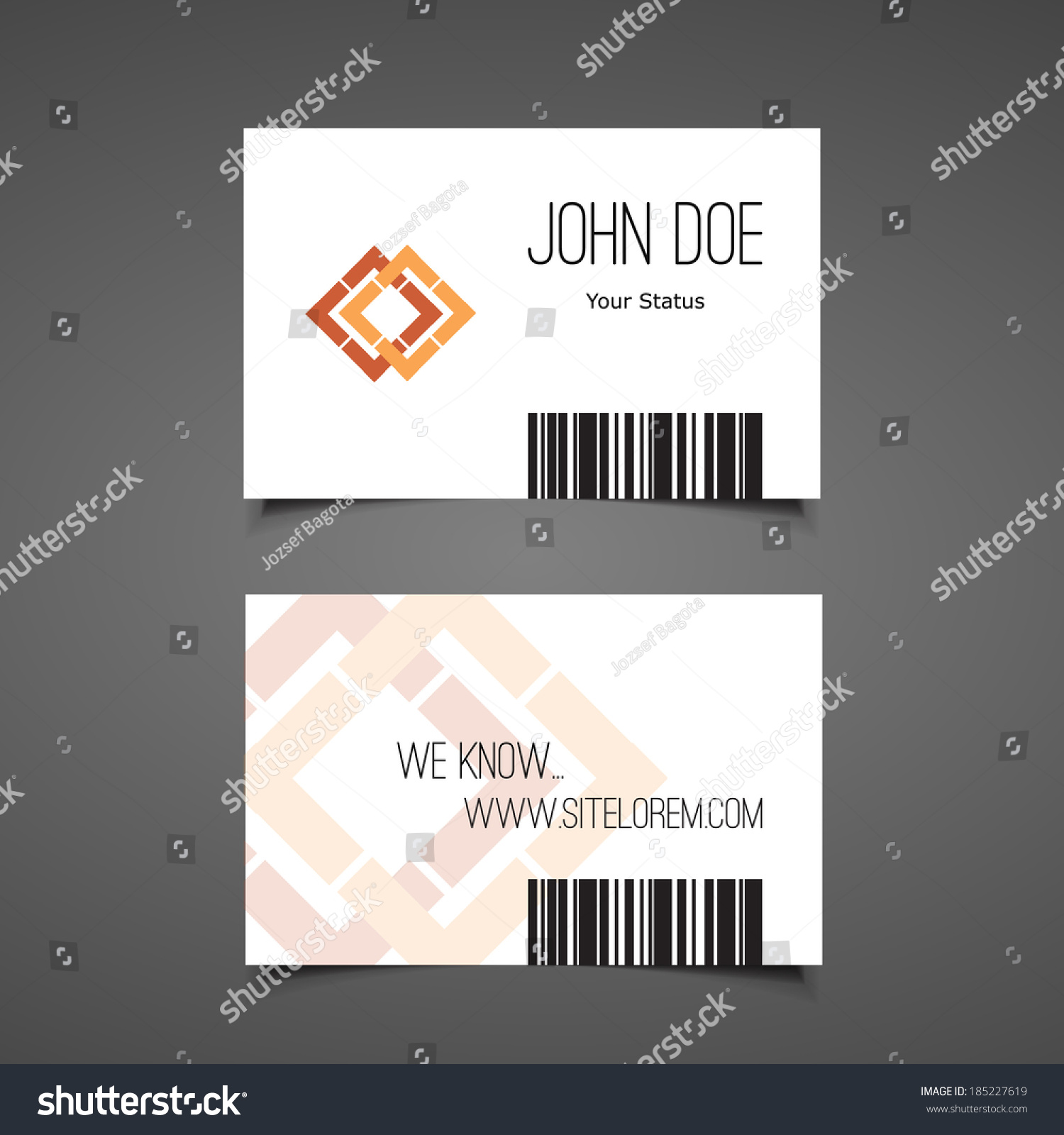 Business Gift Card Design Barcode Background Stock Vector